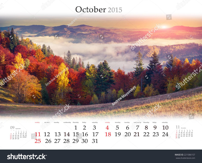 October calendar 2017 colorful