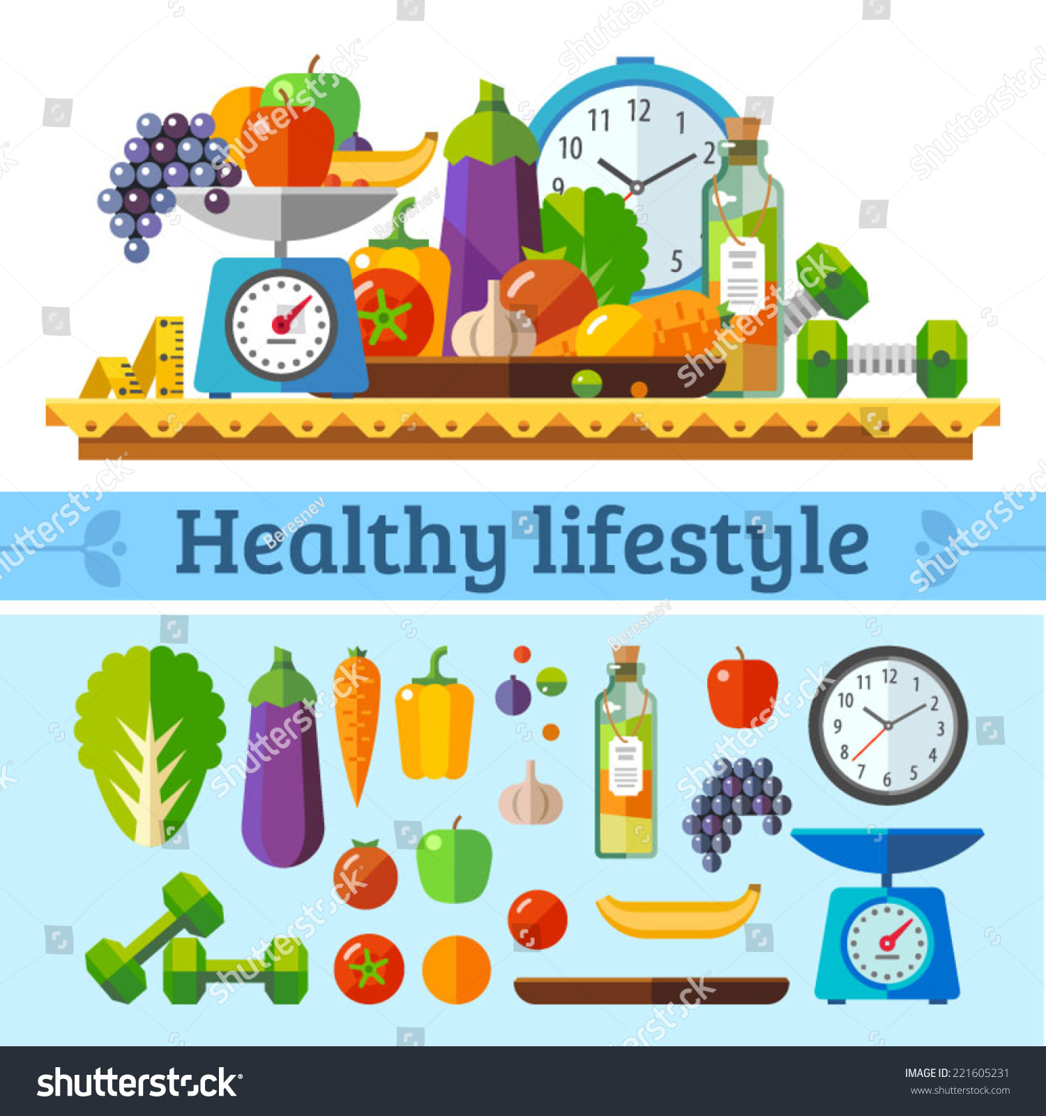 Healthy Lifestyle Healthy Diet Daily Routine Stock Vector ...