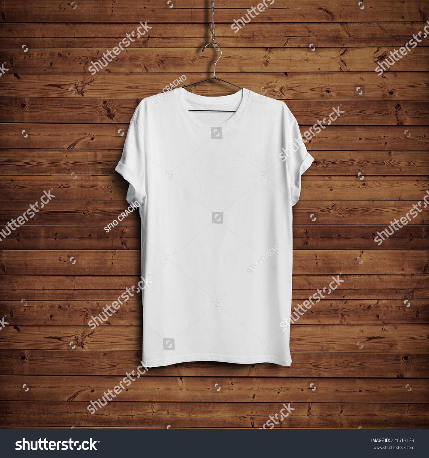 T shirt white blank - White Blank T Shirt On Dark Wood Wall