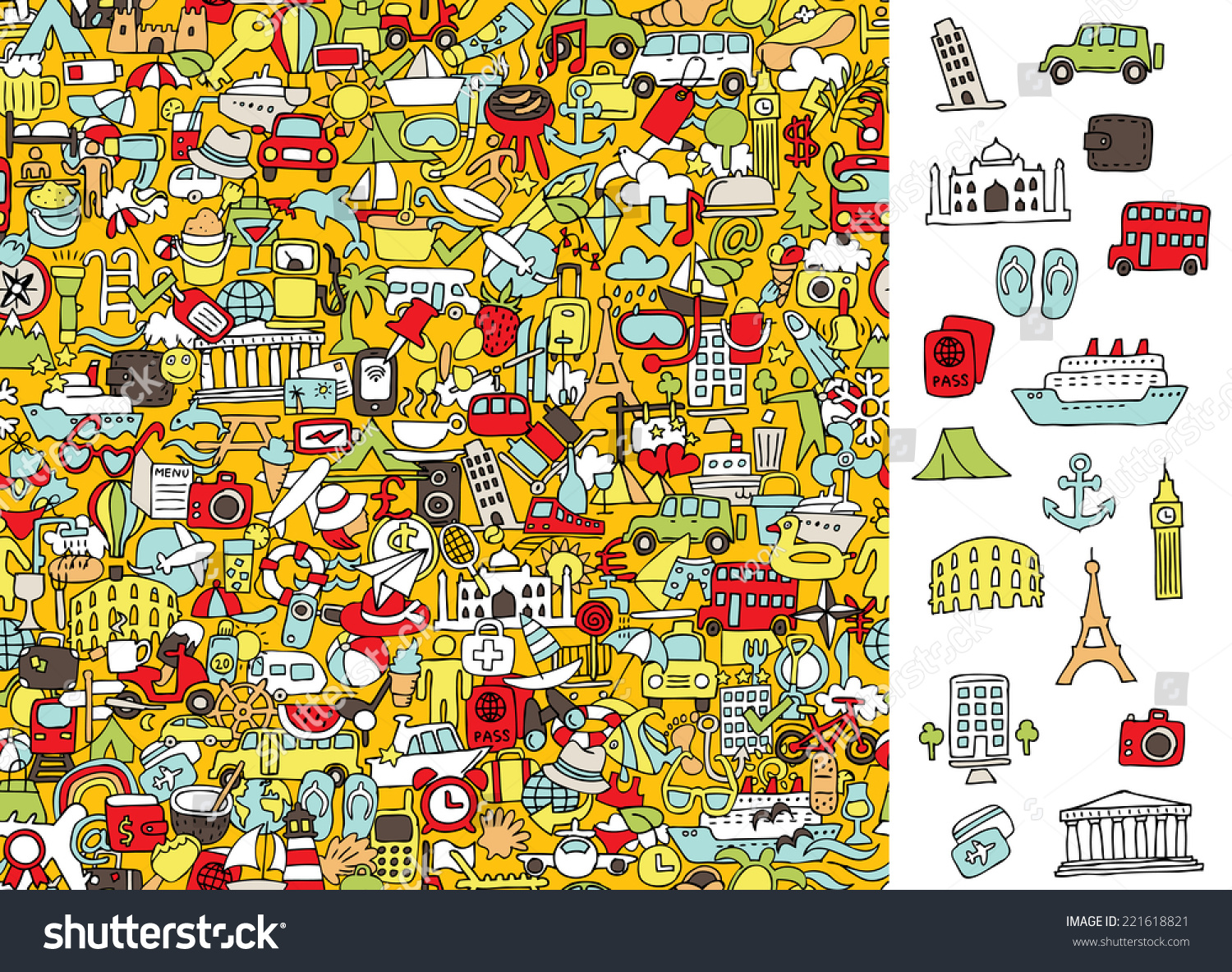 Find Right Travel Icons Visual Game Stock Vector 221618821 ...