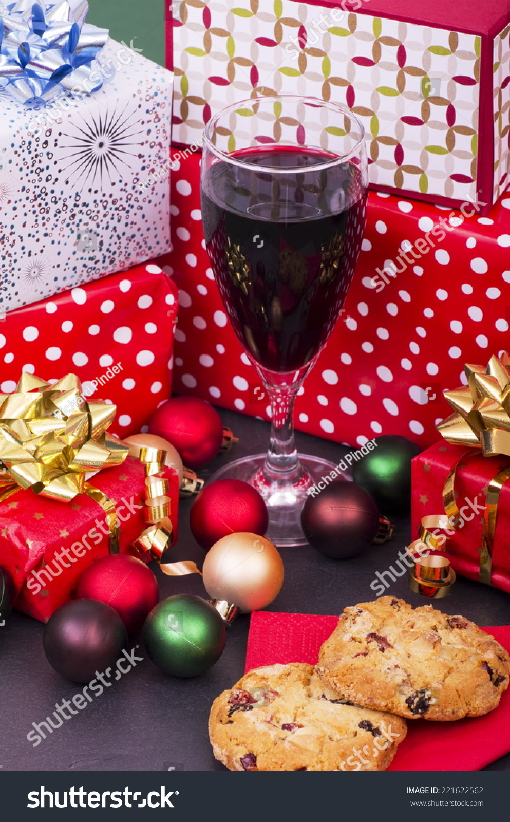 Christmas Cookies Red Wine Presents Selection Stock Photo Edit Now 221622562