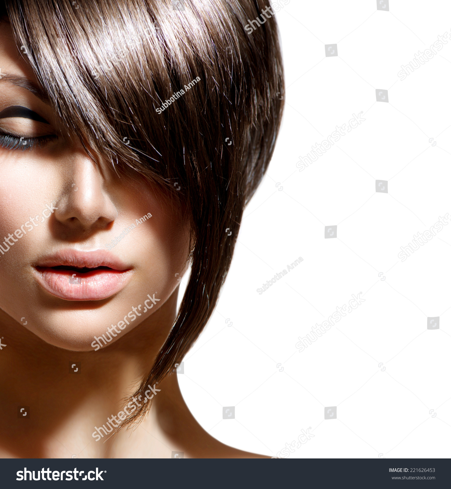 Fashion Haircut Hairstyle Stylish Fringe Short Stock Photo 221626453 Shutterstock