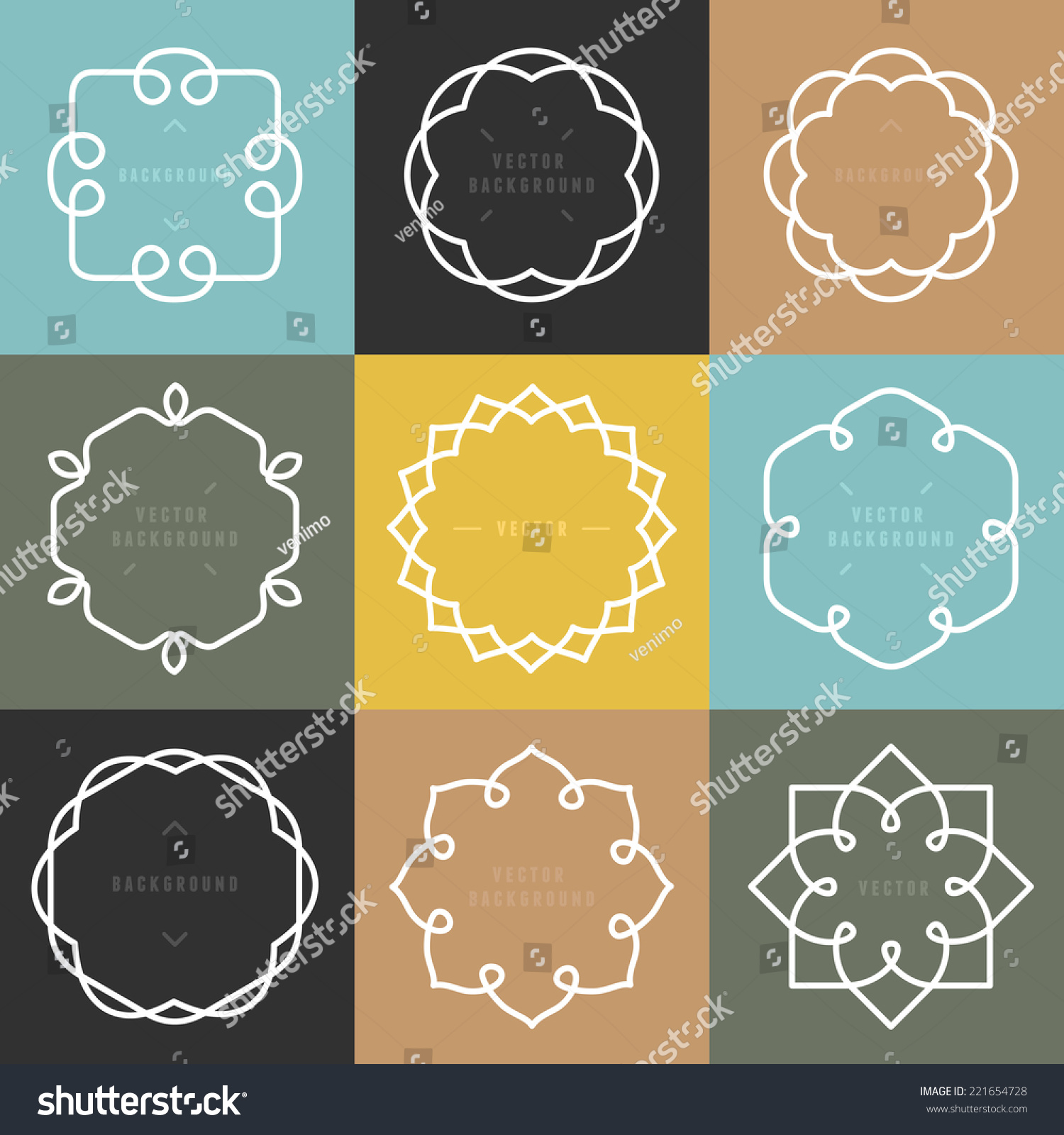 Vector Set Outline Emblems Badges Abstract Stock Vector 221654728 ...