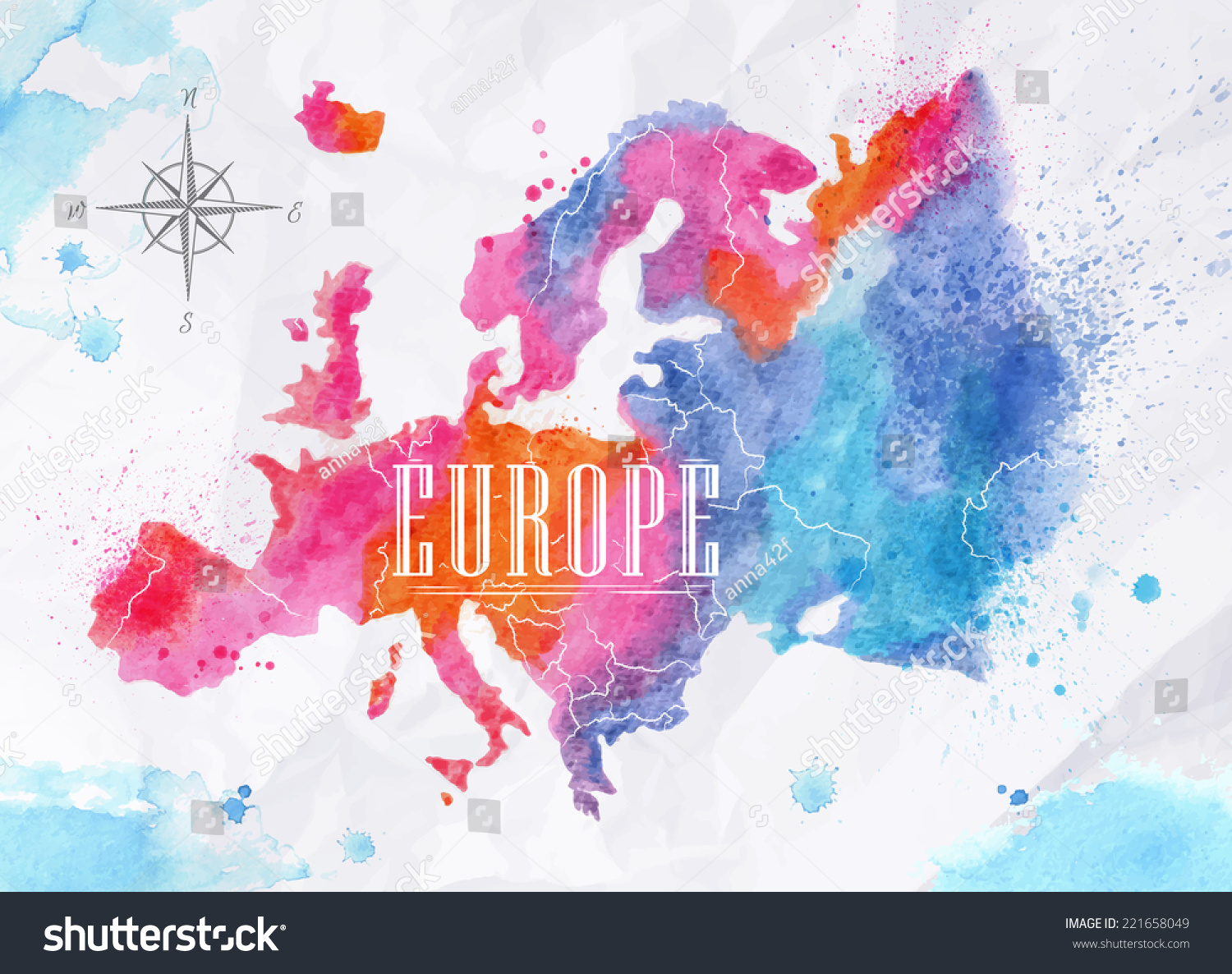 Watercolor Map Europe Vector Format Pink Stock Vector - United states watercolor map