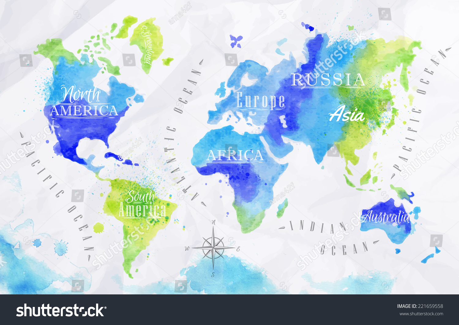 Watercolor world map vector format green stock vector 221659558 watercolor world map in vector format in green and blue colors on a background of crumpled gumiabroncs Choice Image