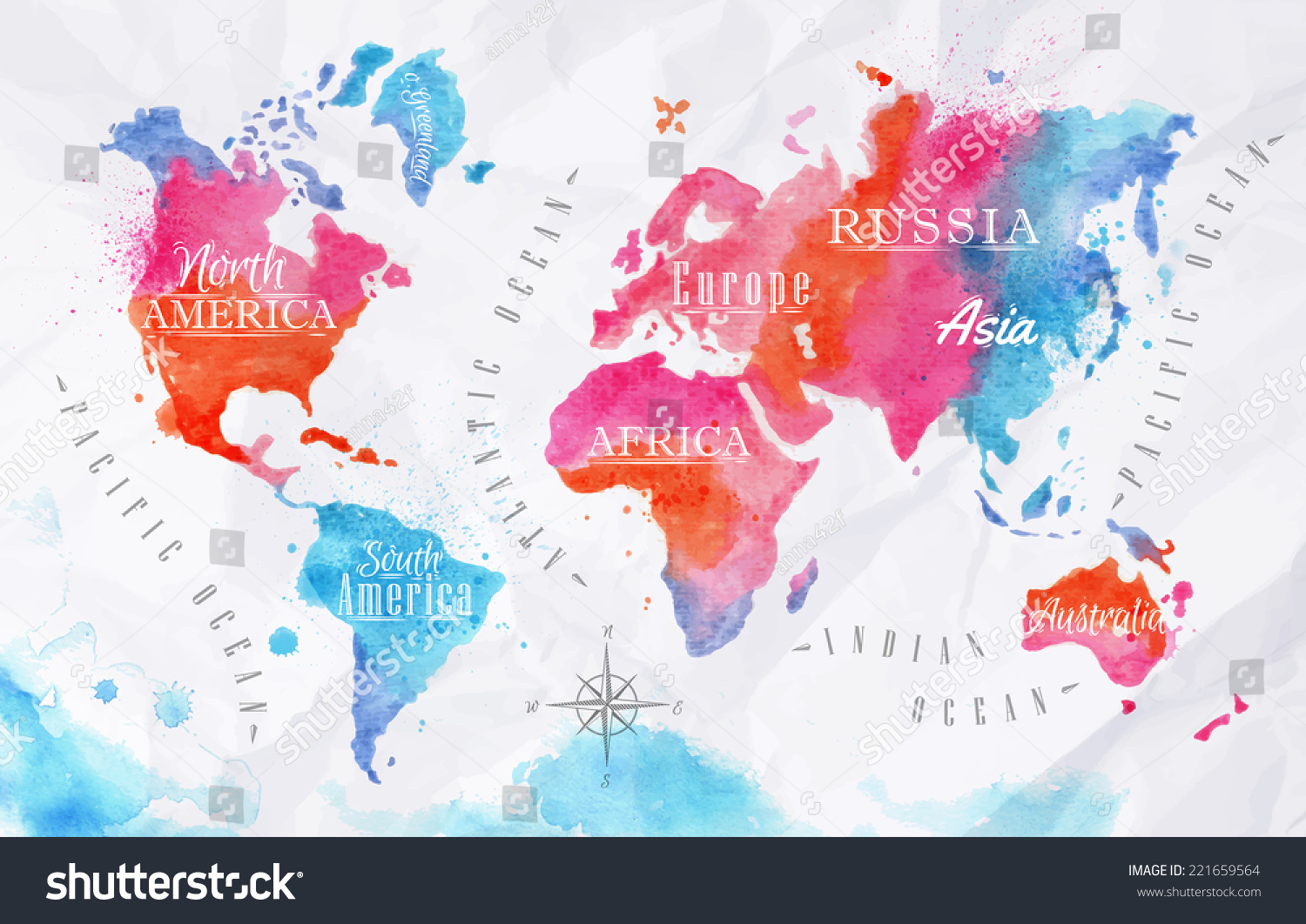 Watercolor World Map Vector Format Pink Stock Vector - United states watercolor map