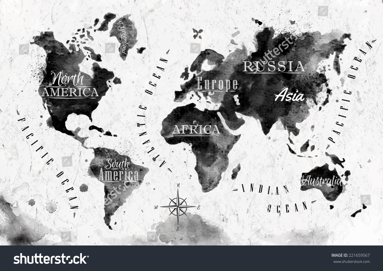 Ink world map black white graphics vector de stock221659567 ink world map in black and white graphics in vintage style gumiabroncs