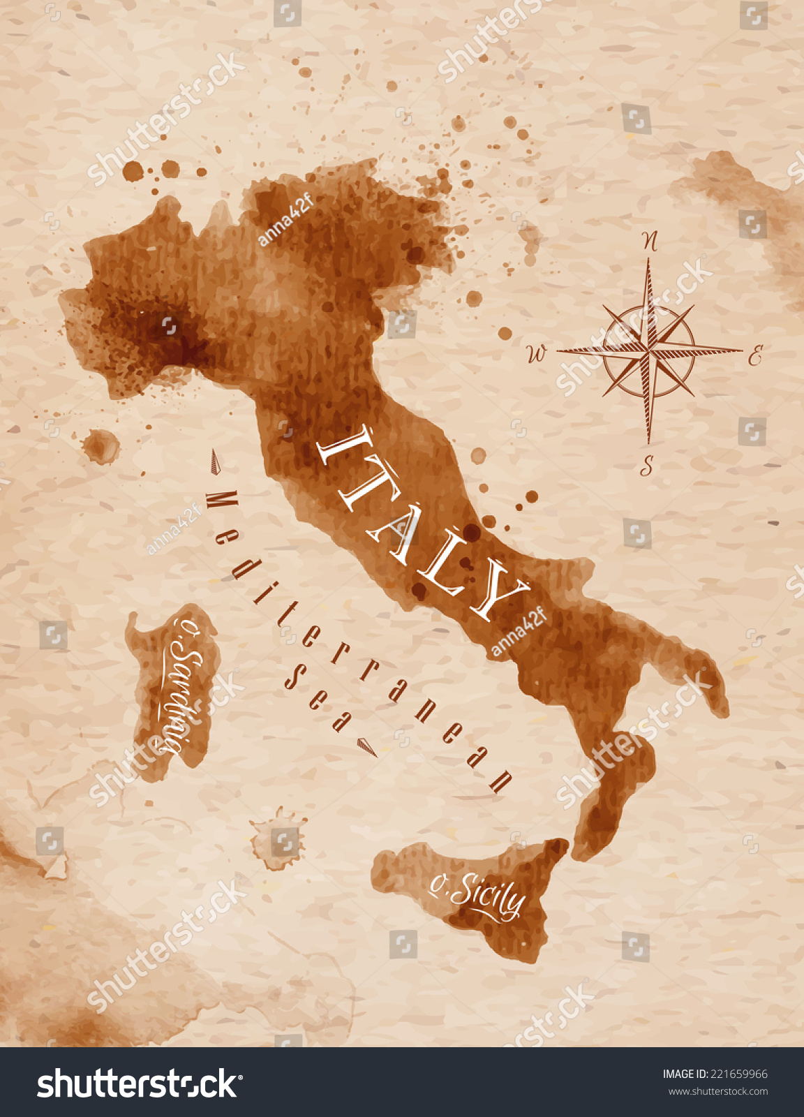 Map italy old style brown graphics stock vector 221659966 shutterstock map of italy in old style brown graphics in a retro style gumiabroncs Choice Image