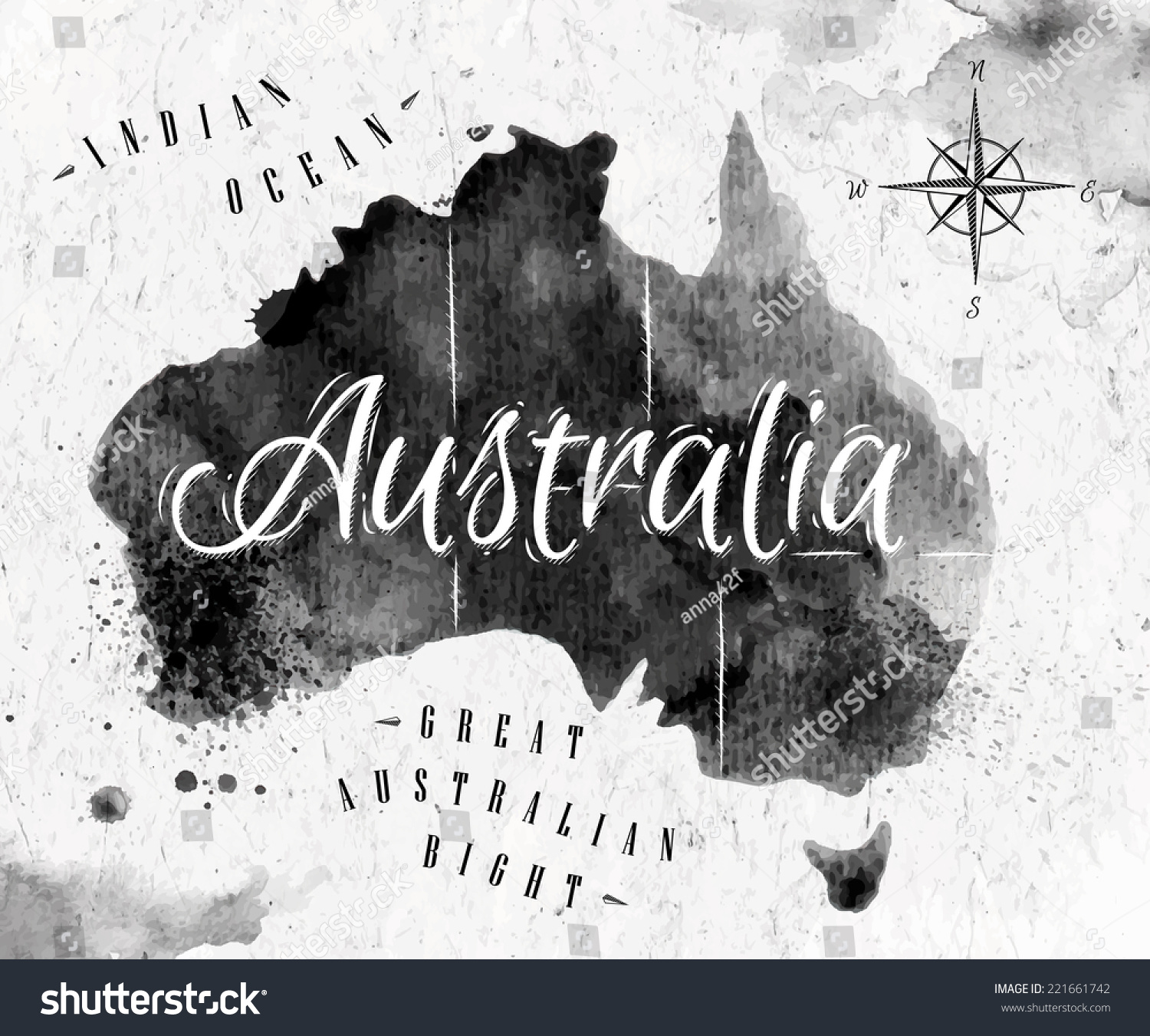 Ink australia map black white graphics vector de stock221661742 ink australia map in black and white graphics in vintage style gumiabroncs