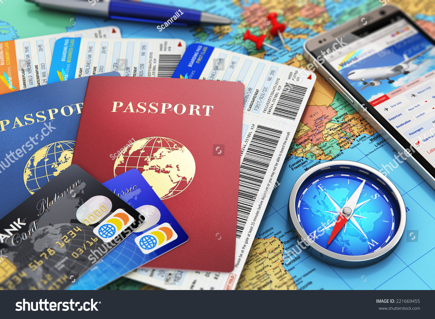 Business Travel Tourism Concept Air Tickets Stock Illustration ...