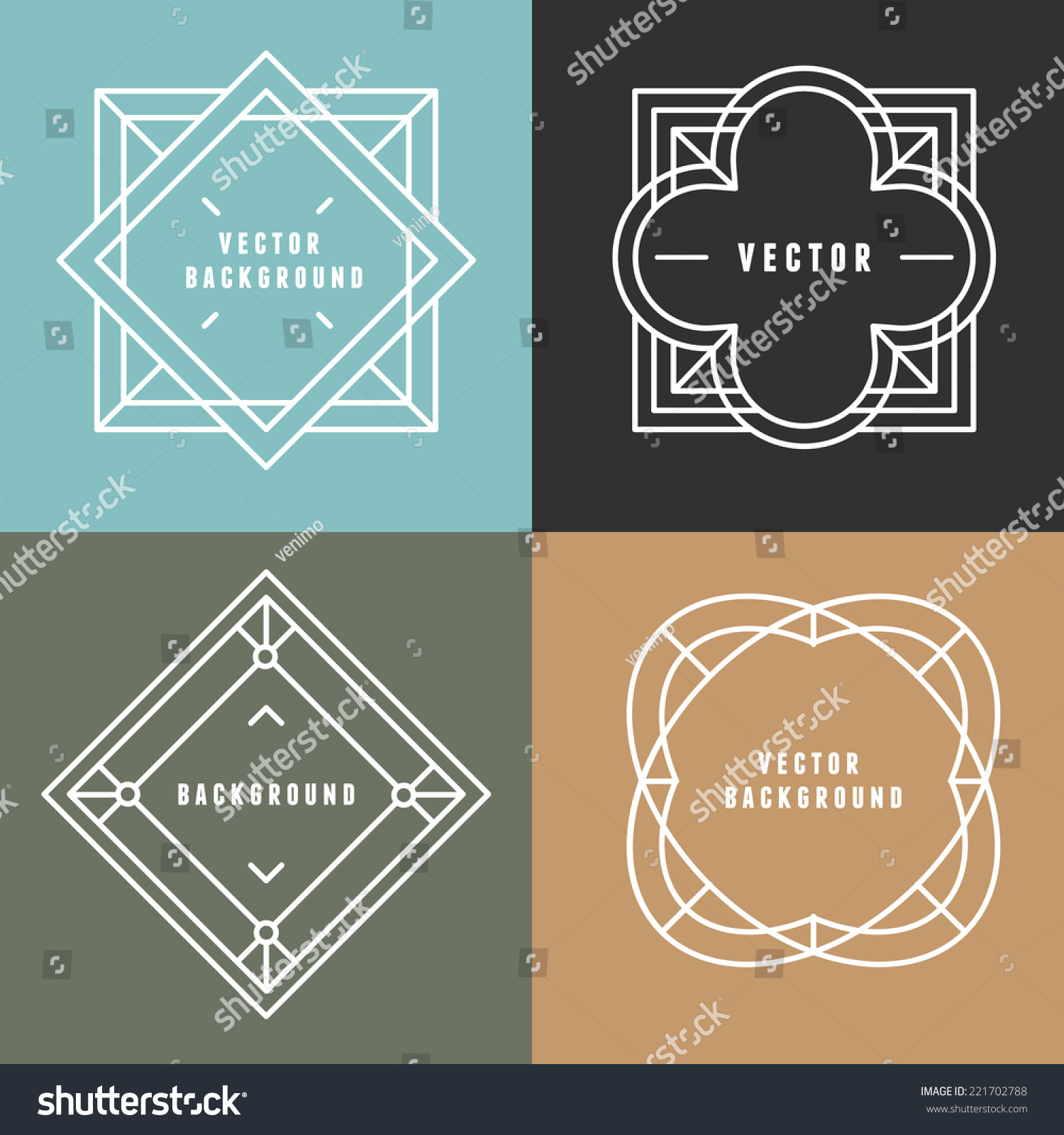 Vector Set Outline Emblems Badges Abstract Stock Vector 221702788 ...