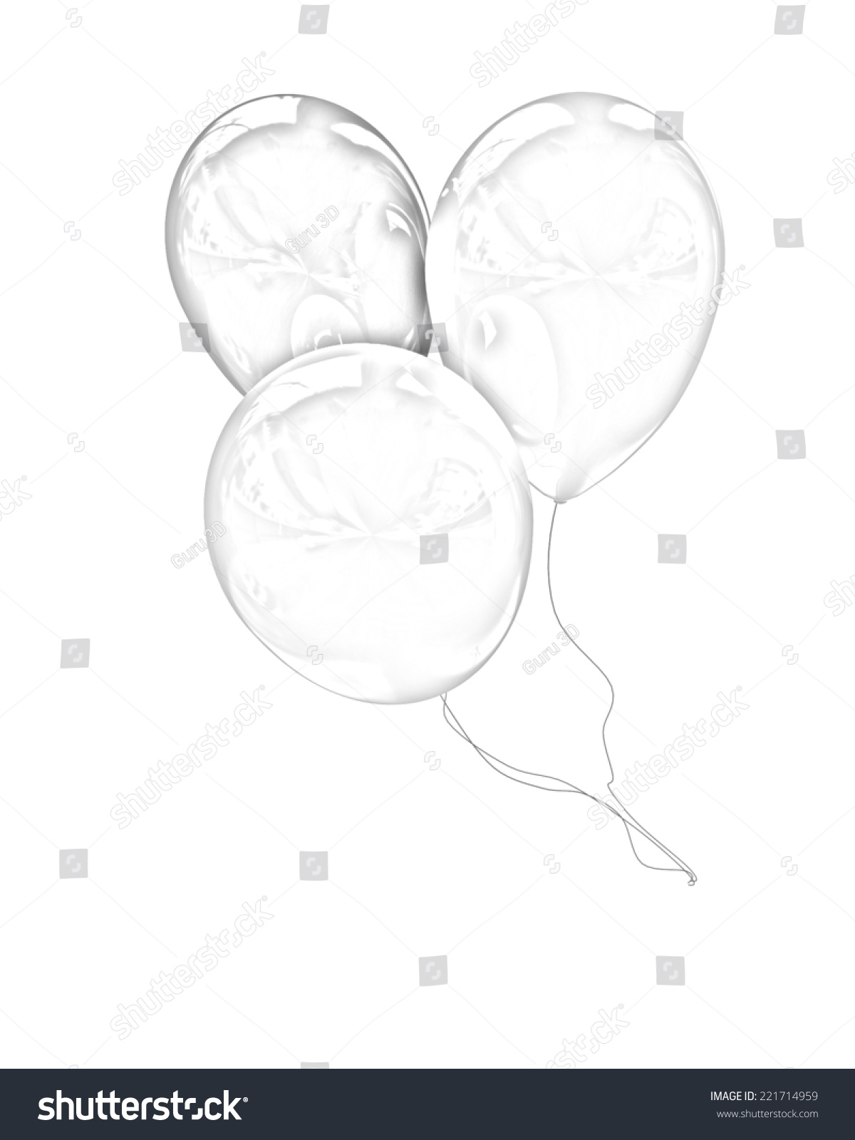 3d balloons on a white background pencil drawing