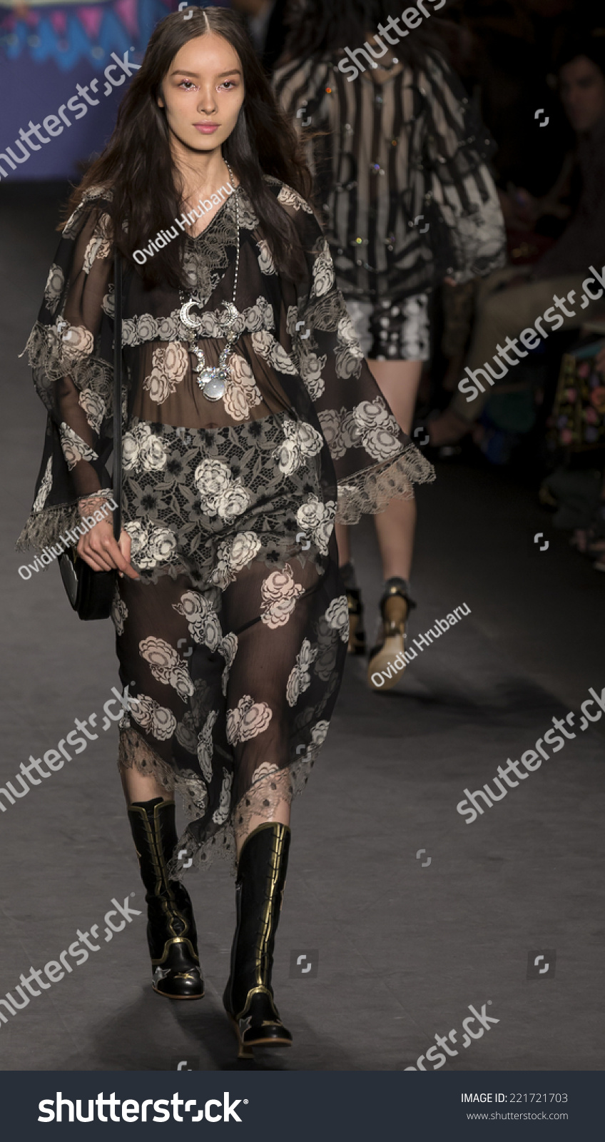 NEW YORK NY SEPTEMBER 10 Fei Fei Sun walks the runway at Anna Sui fashion show during Mercedes-Benz Fashion Week Spring 2015 at The Theatre at Lincoln Center SEPTEMBER 10 2014