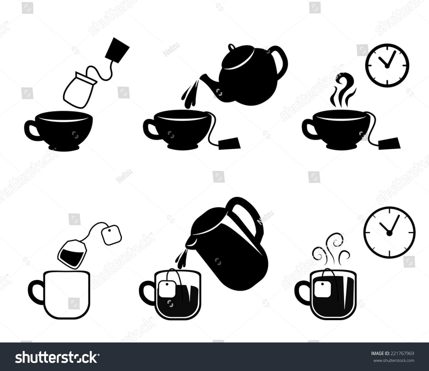 instruction making tea vector icons stock vector royalty free 221767969 https www shutterstock com image vector instruction making tea vector icons 221767969