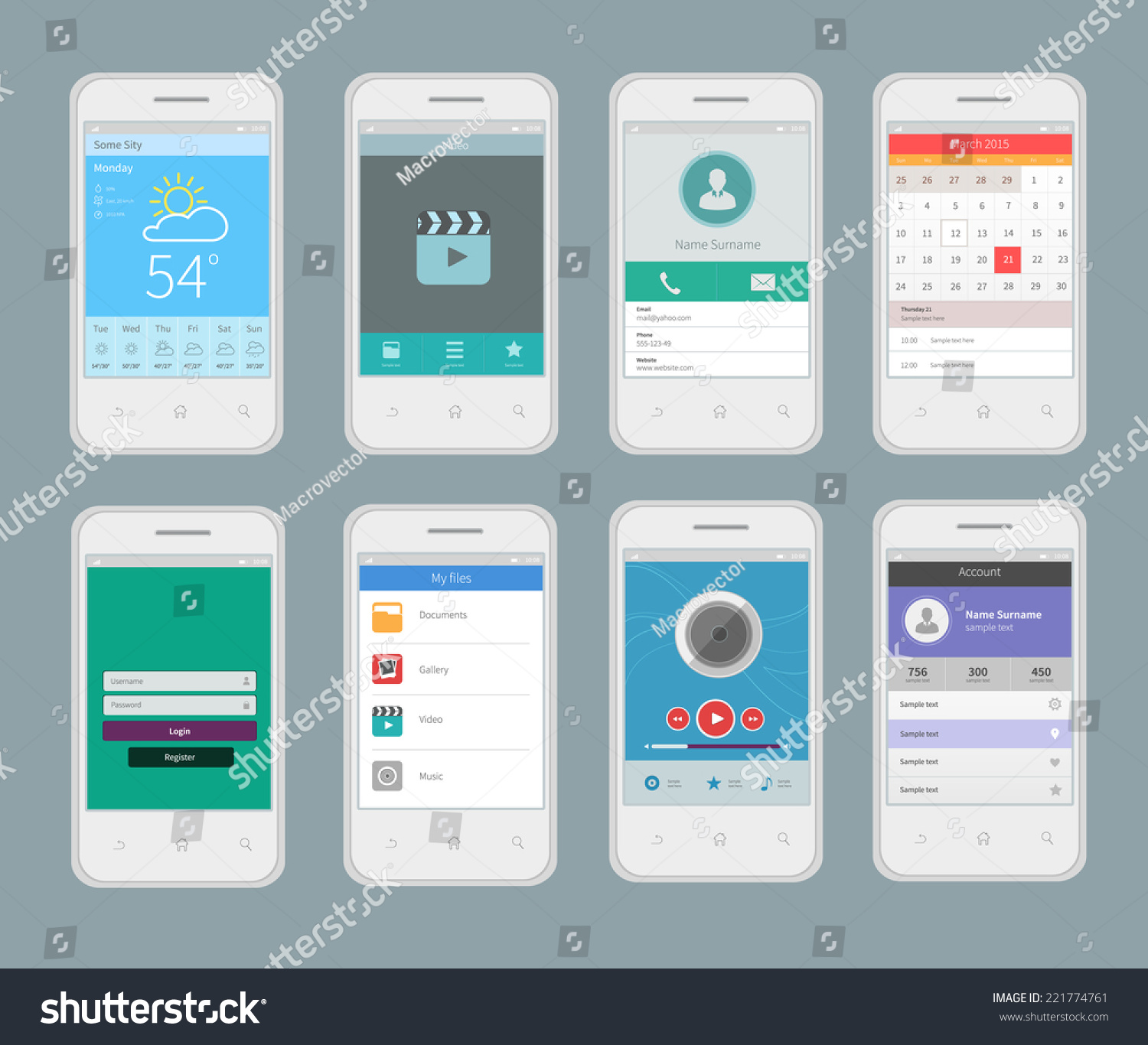 White smartphones mobile ui design template stock vector for Mobel design