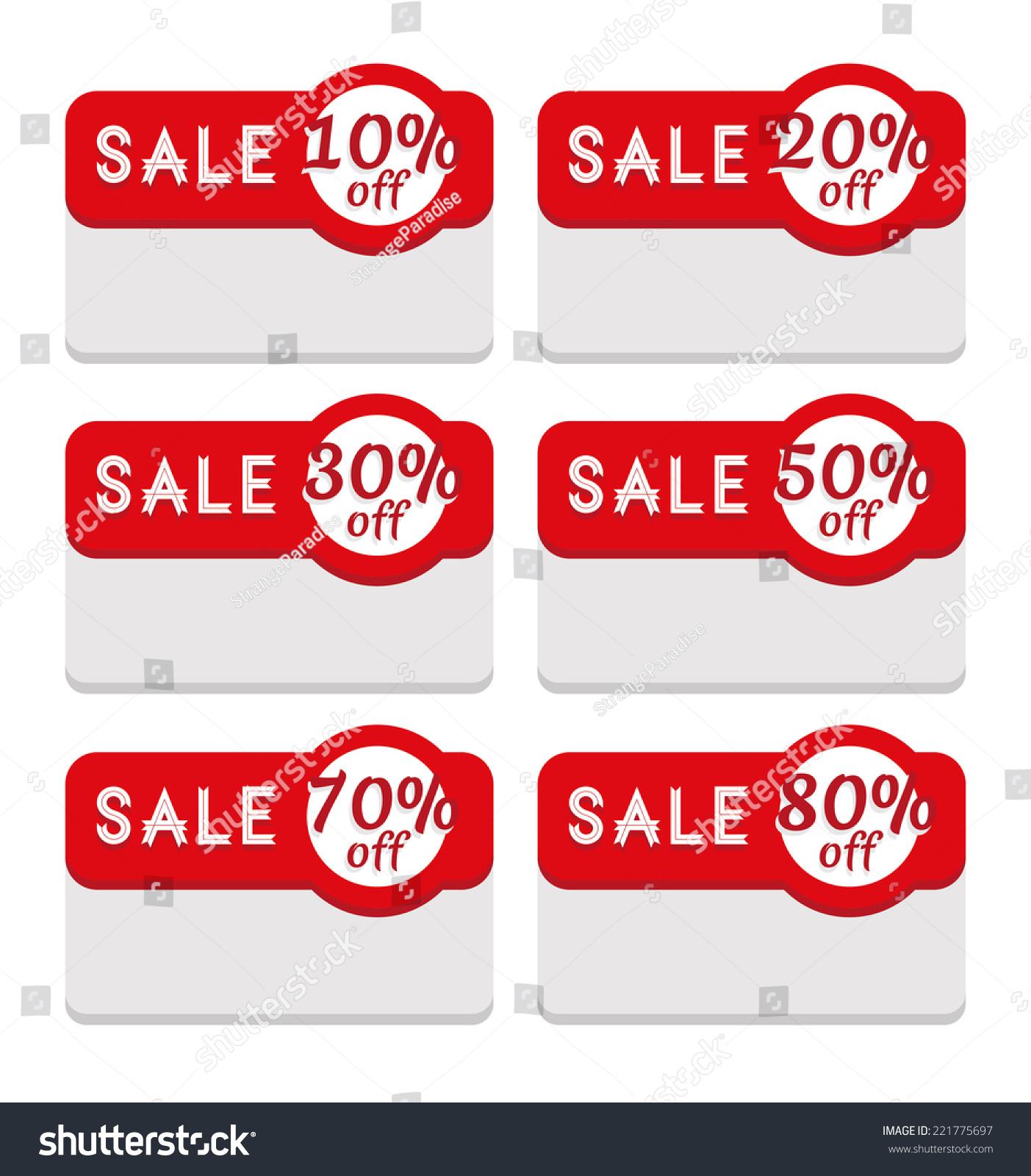 Discount Sale Label Template 10 20 Stock Vector 221775697 ...