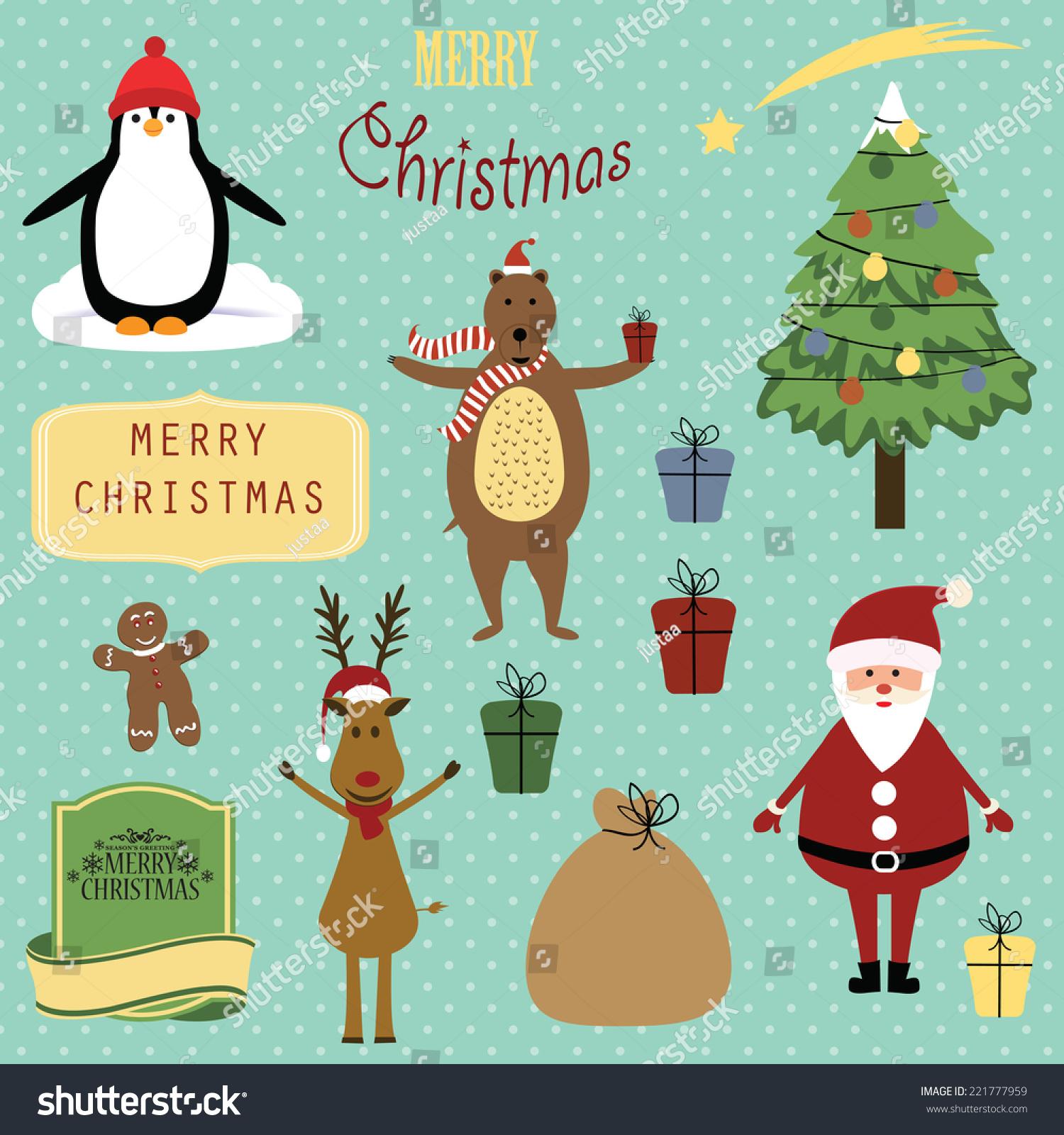 cute christmas background santa reindeer bear stock vector