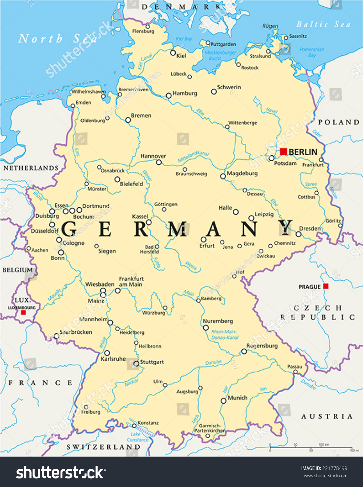 Germany Political Map With ...