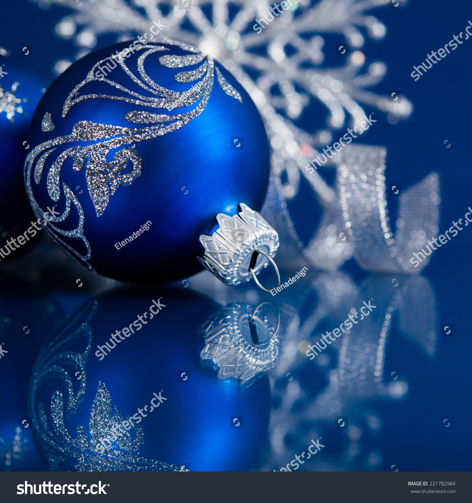 Blue Silver Christmas Ornaments On Dark Stock Photo 221782984 ...