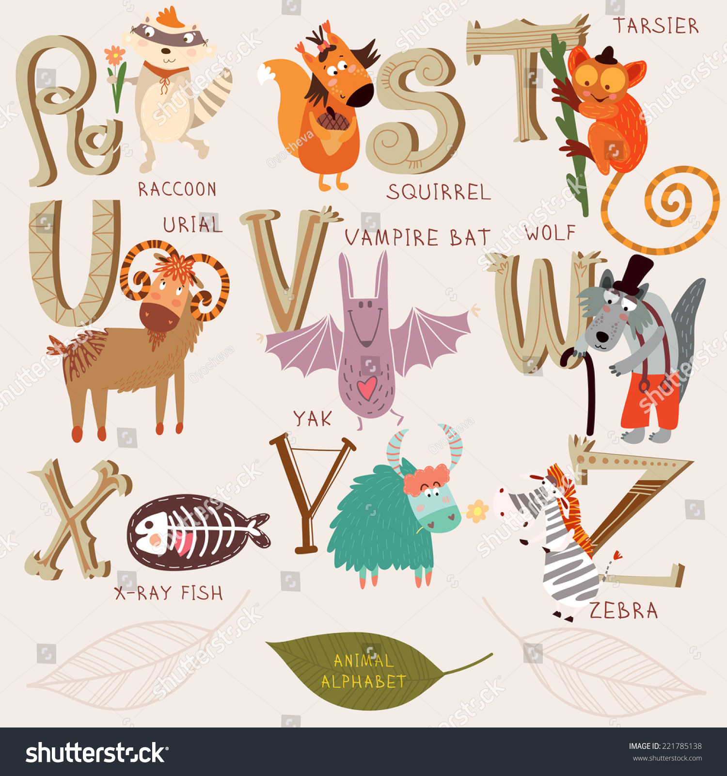 animals that start with the letter u animal alphabet r s t stock vector 221785138 20462 | stock vector cute animal alphabet r s t u v w x y z letters raccoon squirrel tarsier urial vampire 221785138