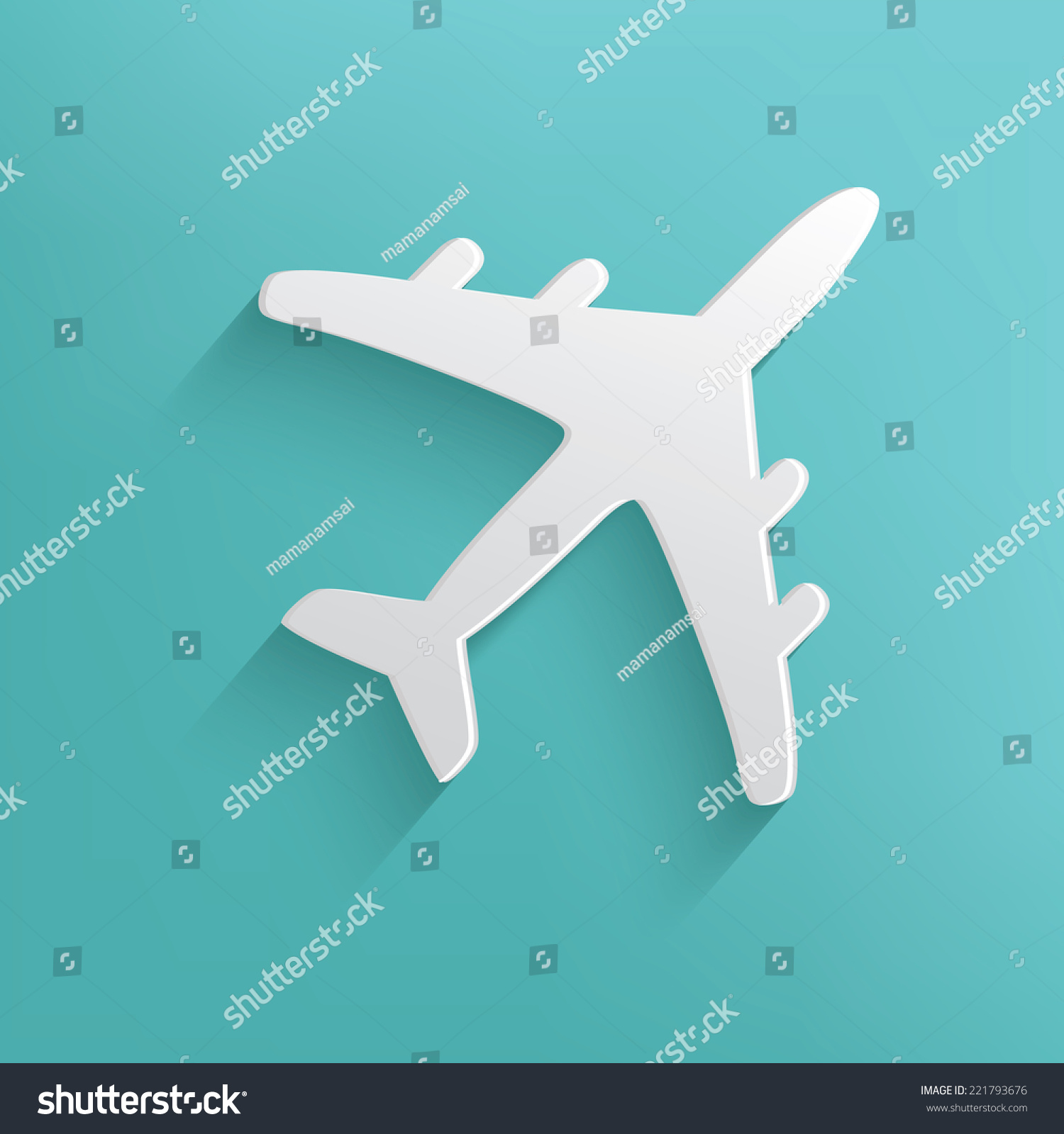 airplane symbol on blue backgroundclean vector