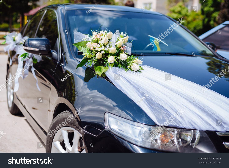 Wedding Car Decor Flowers Bouquet Car Stock Photo Royalty Free