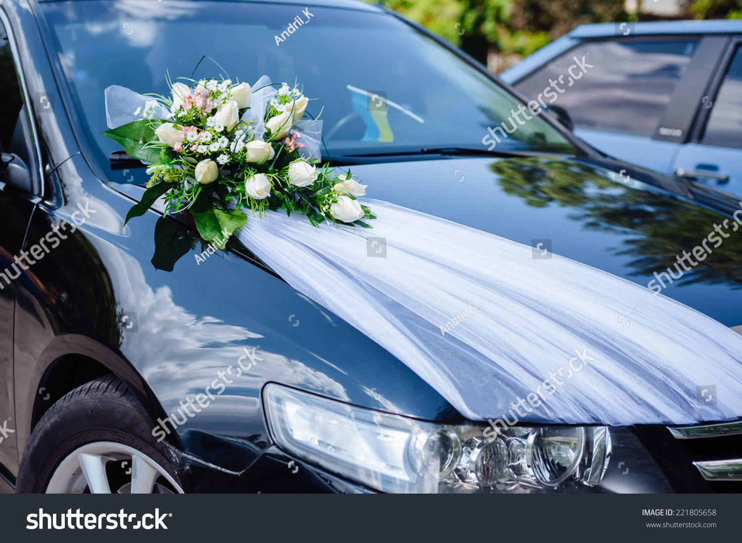 Wedding Car Decoration With Flowers  from image.shutterstock.com