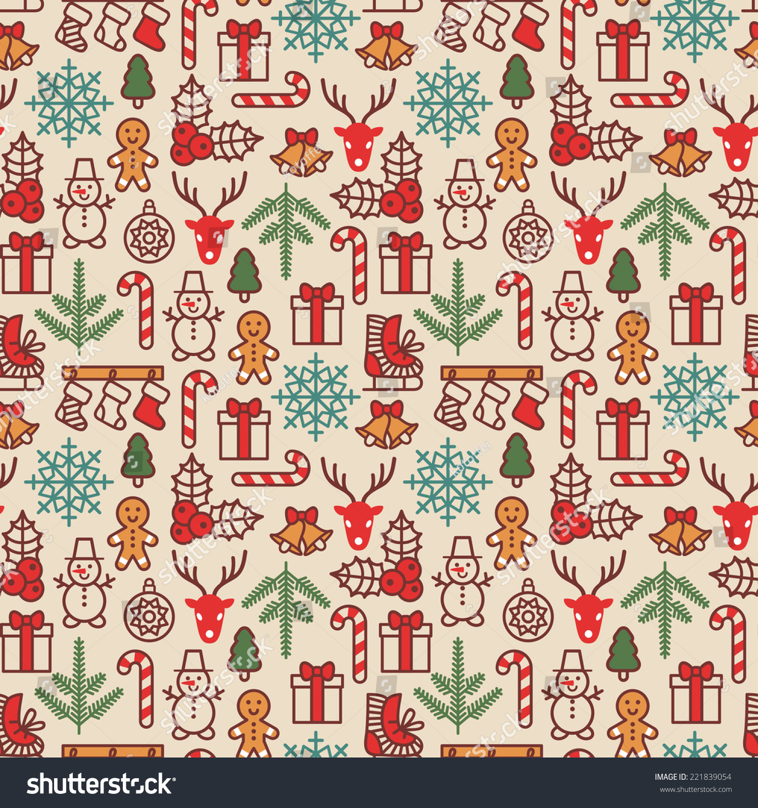 ... pattern in vintage style. Cute Xmas characters. Deer head. Snowman in