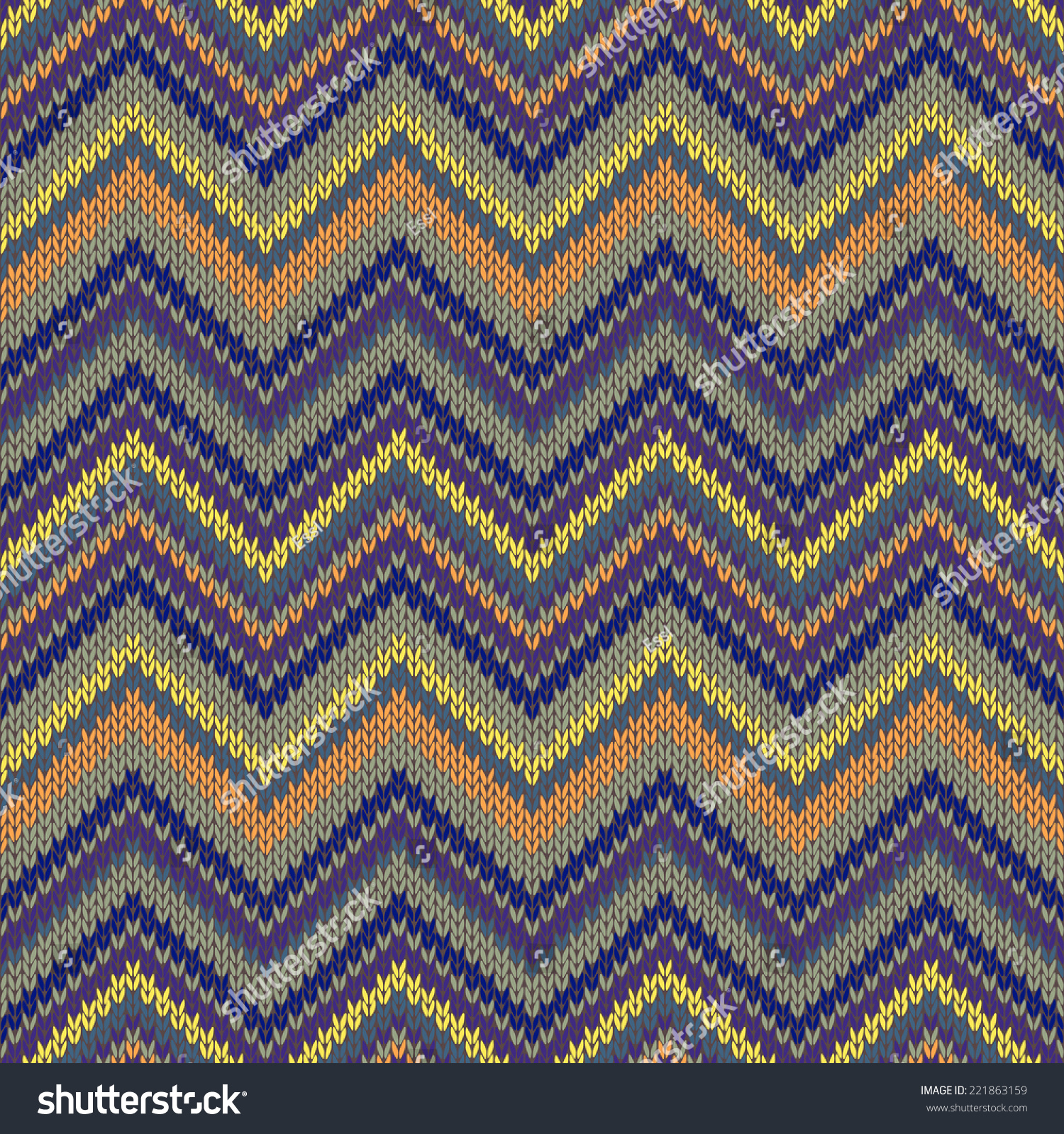 Seamless Knitted Pattern Multicolored Repeating Tribal Stock ...