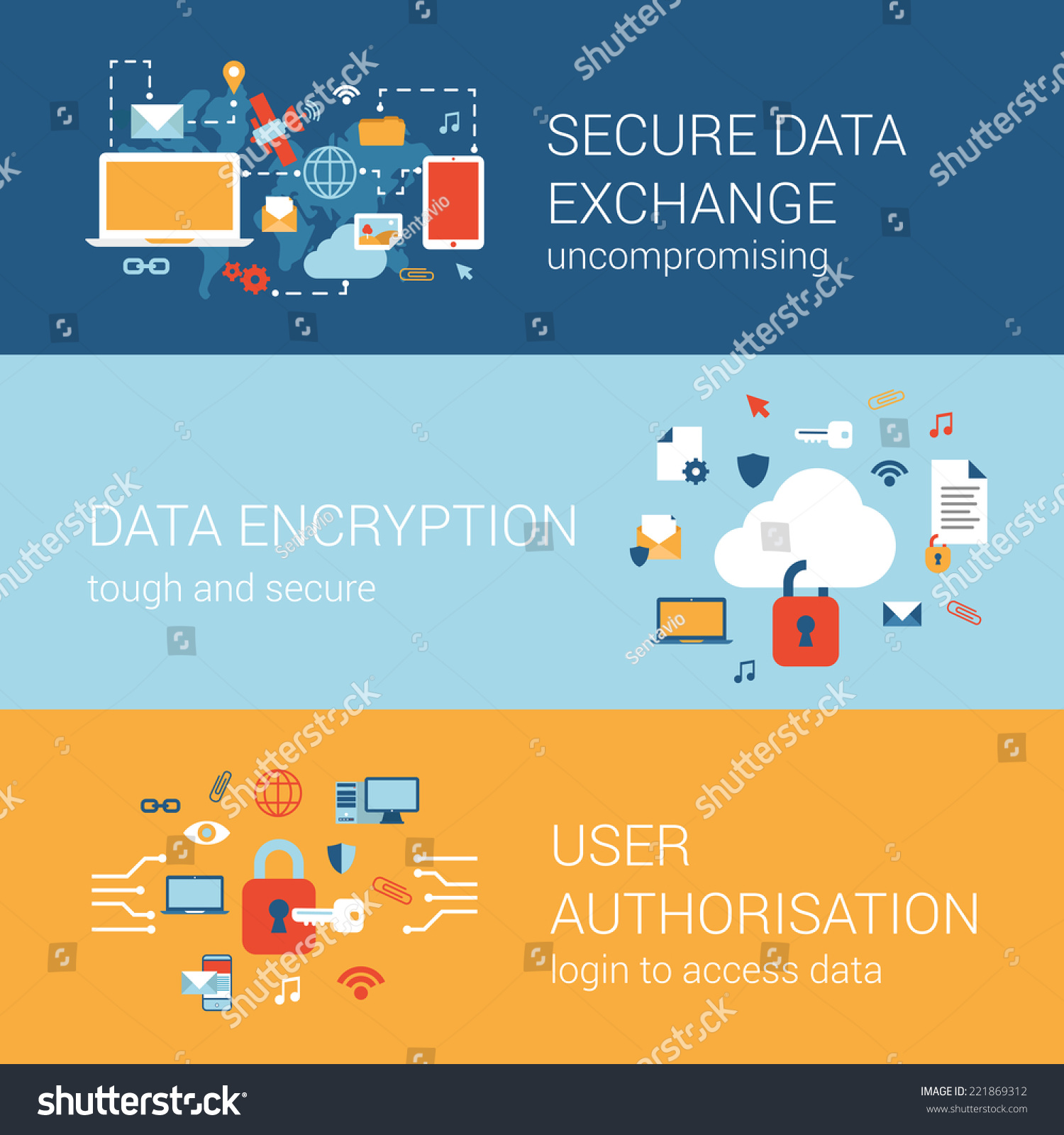 Online Internet Security Concept Flat Icons Stock Vector Royalty