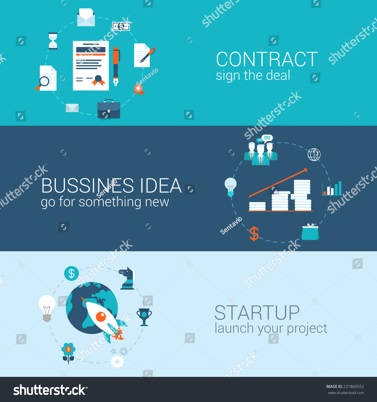 business contract idea startup concept flat icons banners template set sign deal start up launch. Black Bedroom Furniture Sets. Home Design Ideas