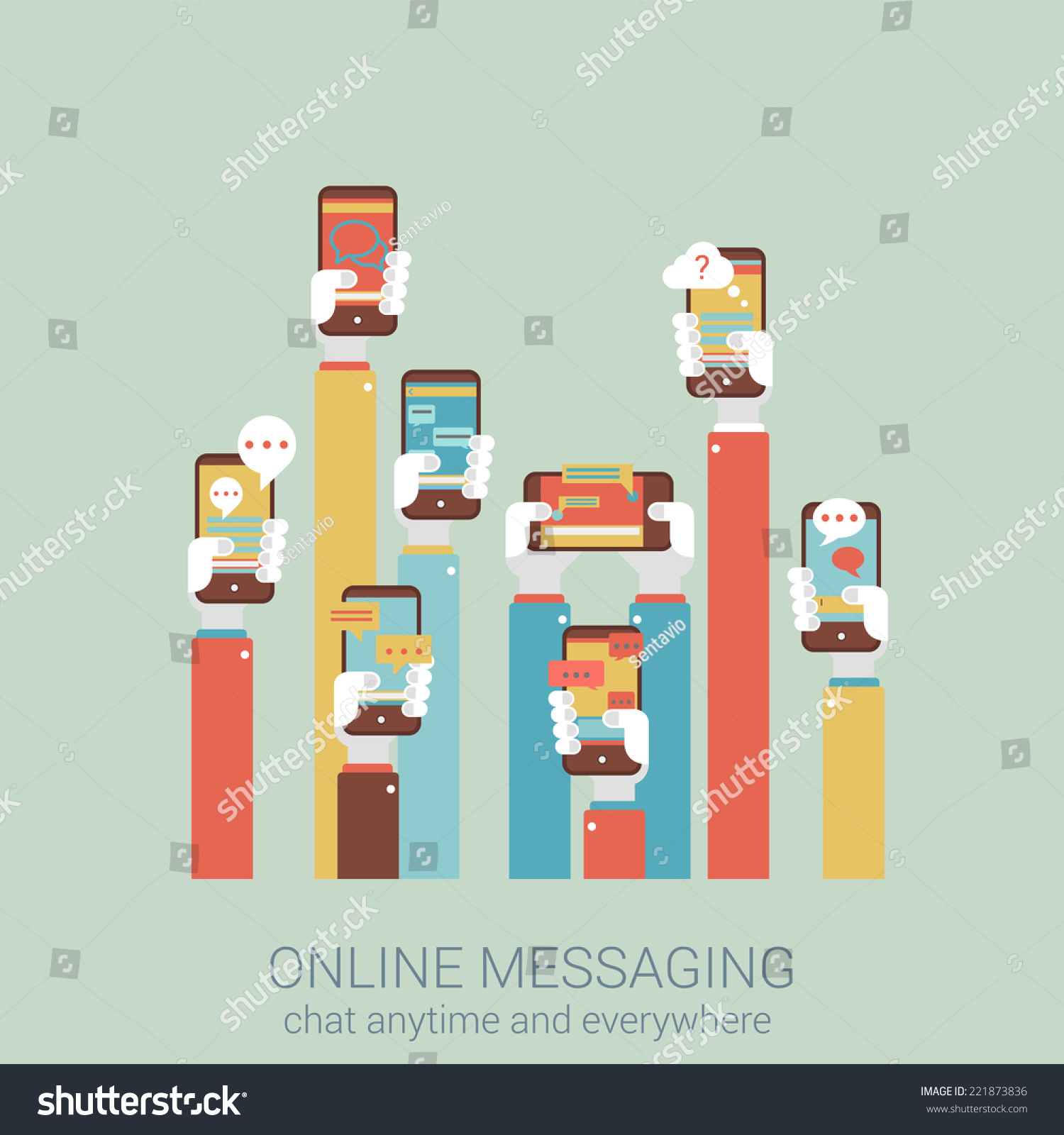 Flat Style Design Vector Illustration Online Messaging Mobile App Concept Collage Of Hands Holding Touch