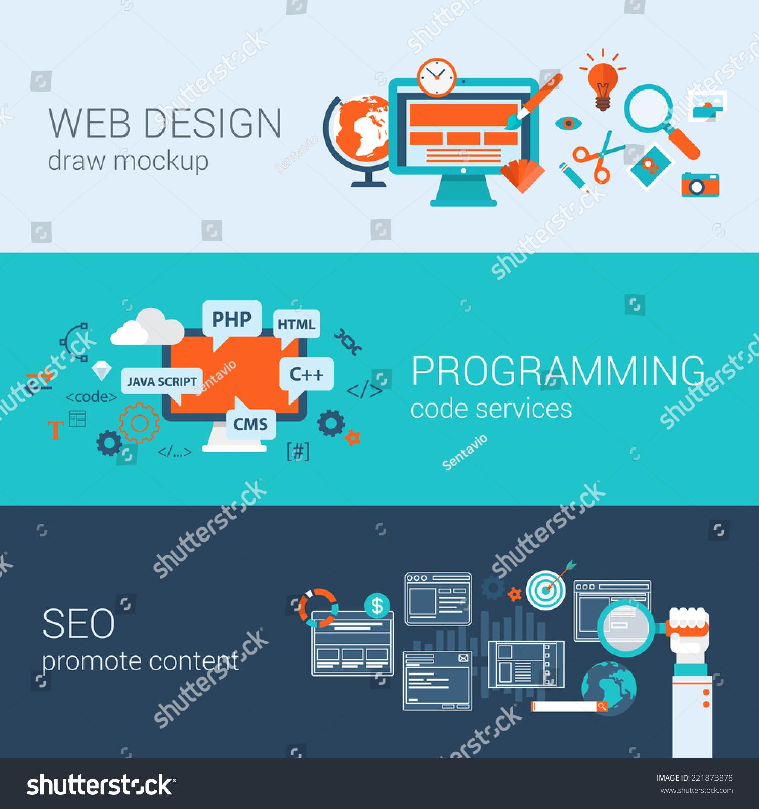 conceptual site model template - web design programming seo concept flat stock vector