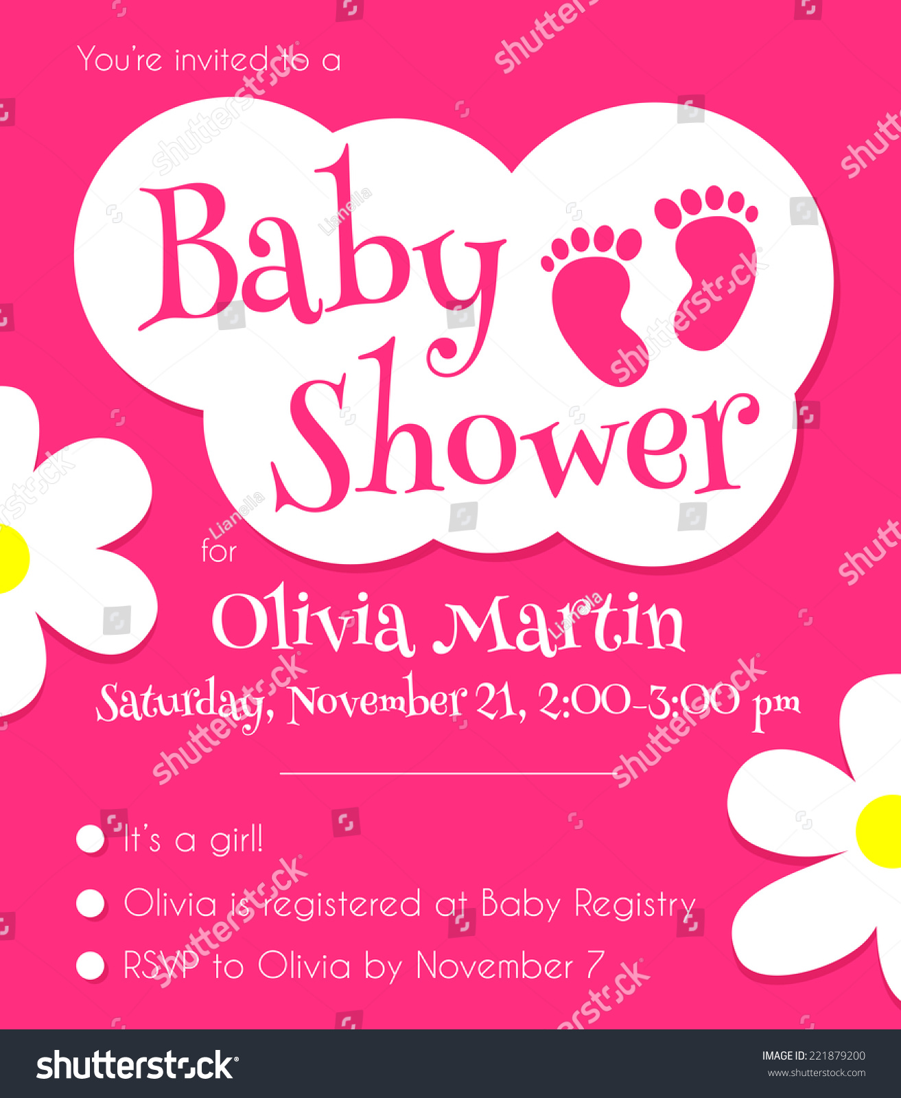 Pink Baby Shower Invitation Template Vector Stock Vector 221879200 ...