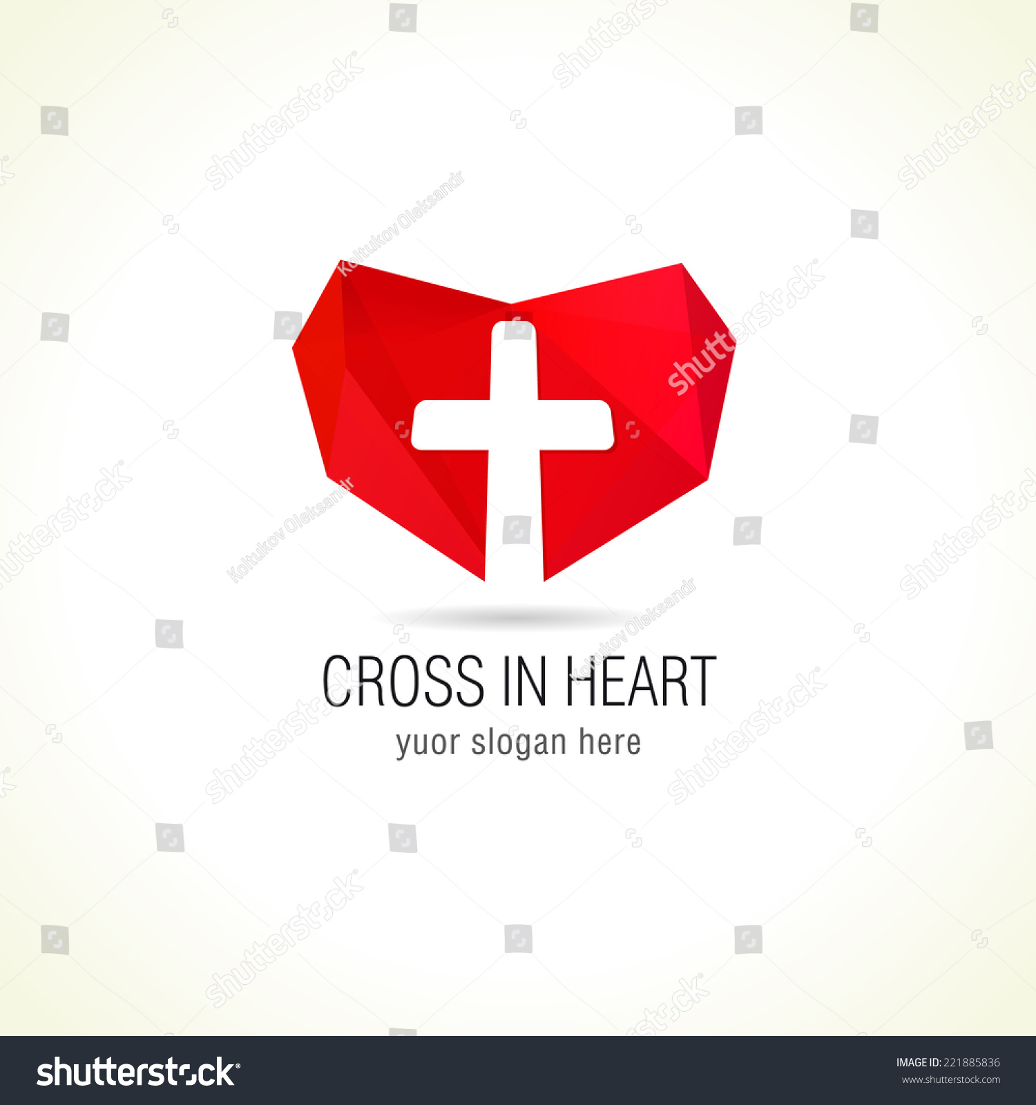 Logo For A Medical Company Or Christian Organization Cross On A Background Of Red ...