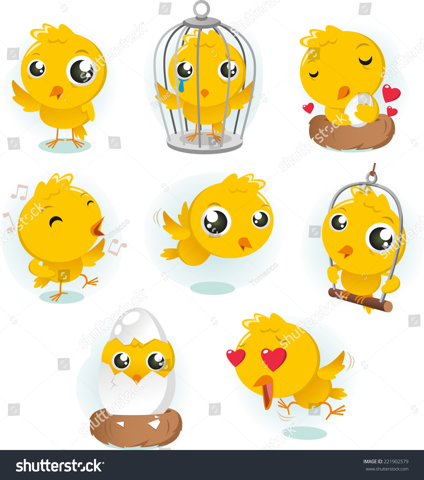 National Cage Bird Show Incorporated Stock Vector Cartoon Canary Bird Action Set Collection