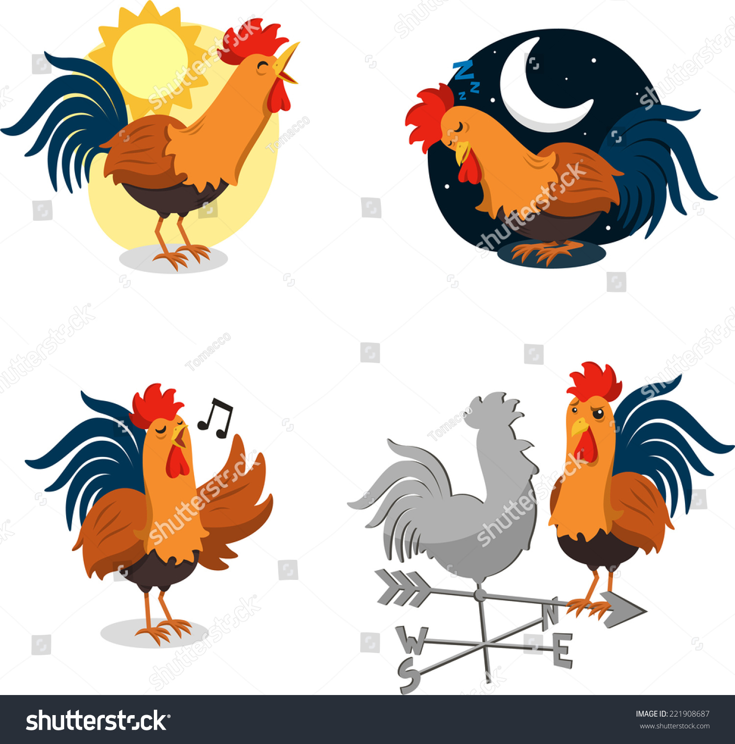 rooster cartoon illustrations set recognizable situations stock