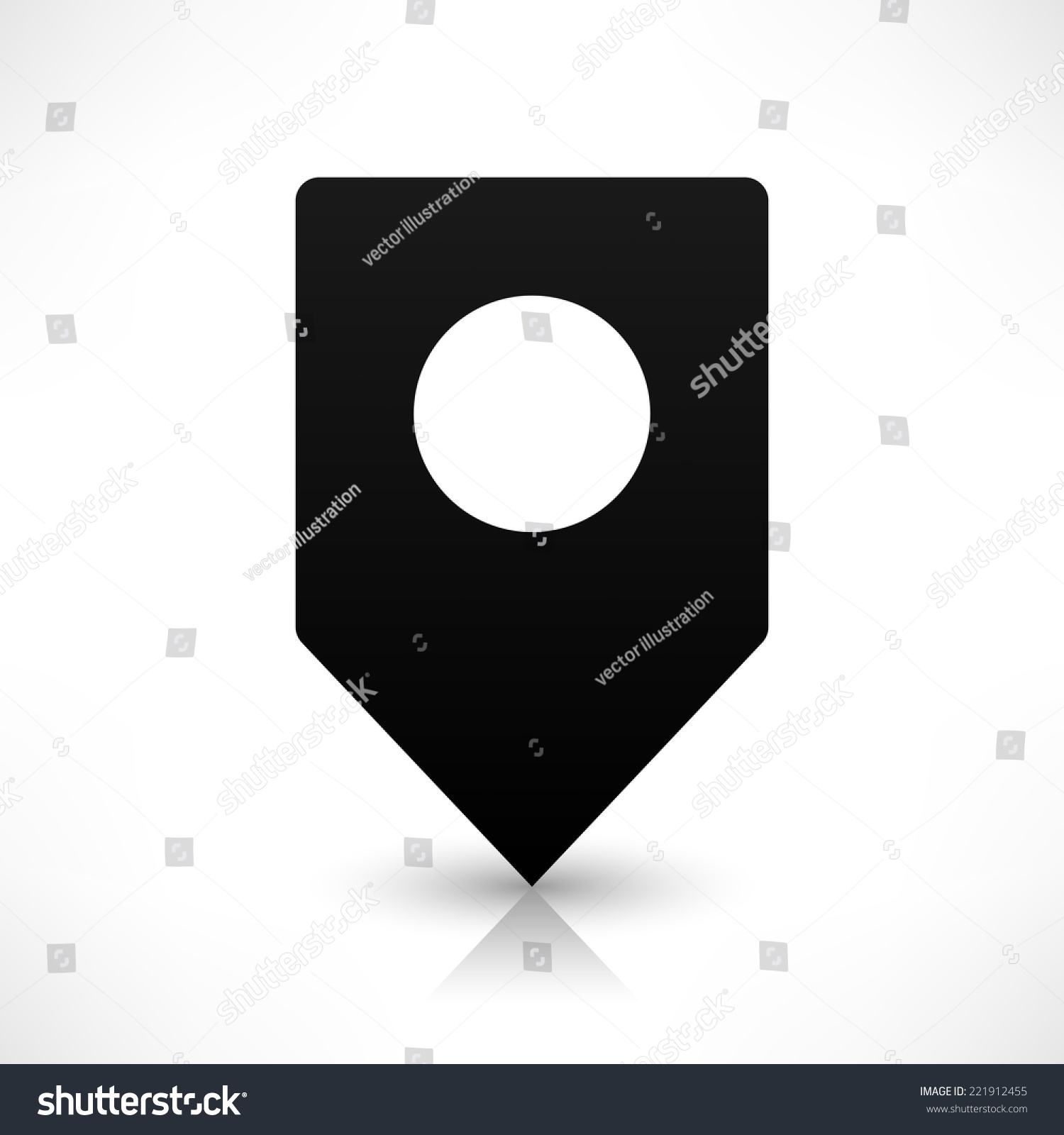 Black empty square map pins sign stock vector 221912455 shutterstock black empty square map pins sign location icon with circular blank copy space and gray shadow buycottarizona Gallery