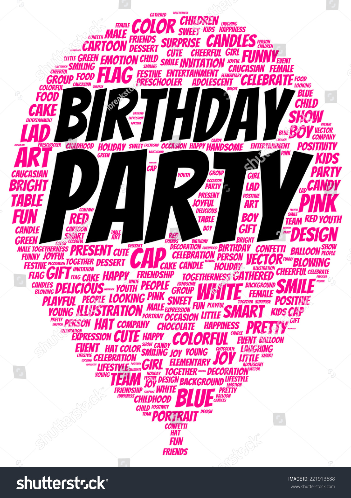 birthday party word cloud shape concept stock illustration 221913688