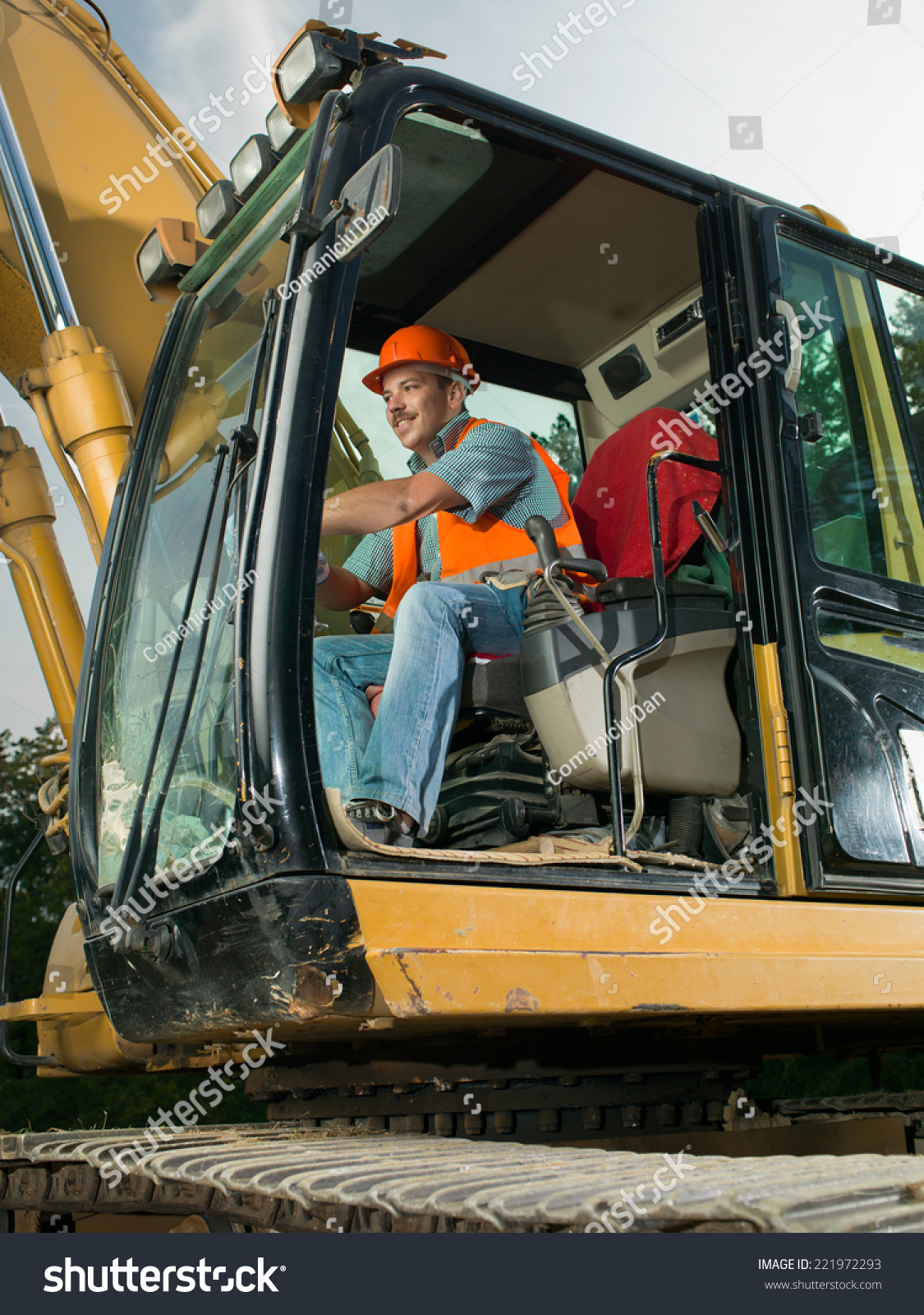Happy Male Worker Operating Excavator On Stock Photo Edit Now 221972293