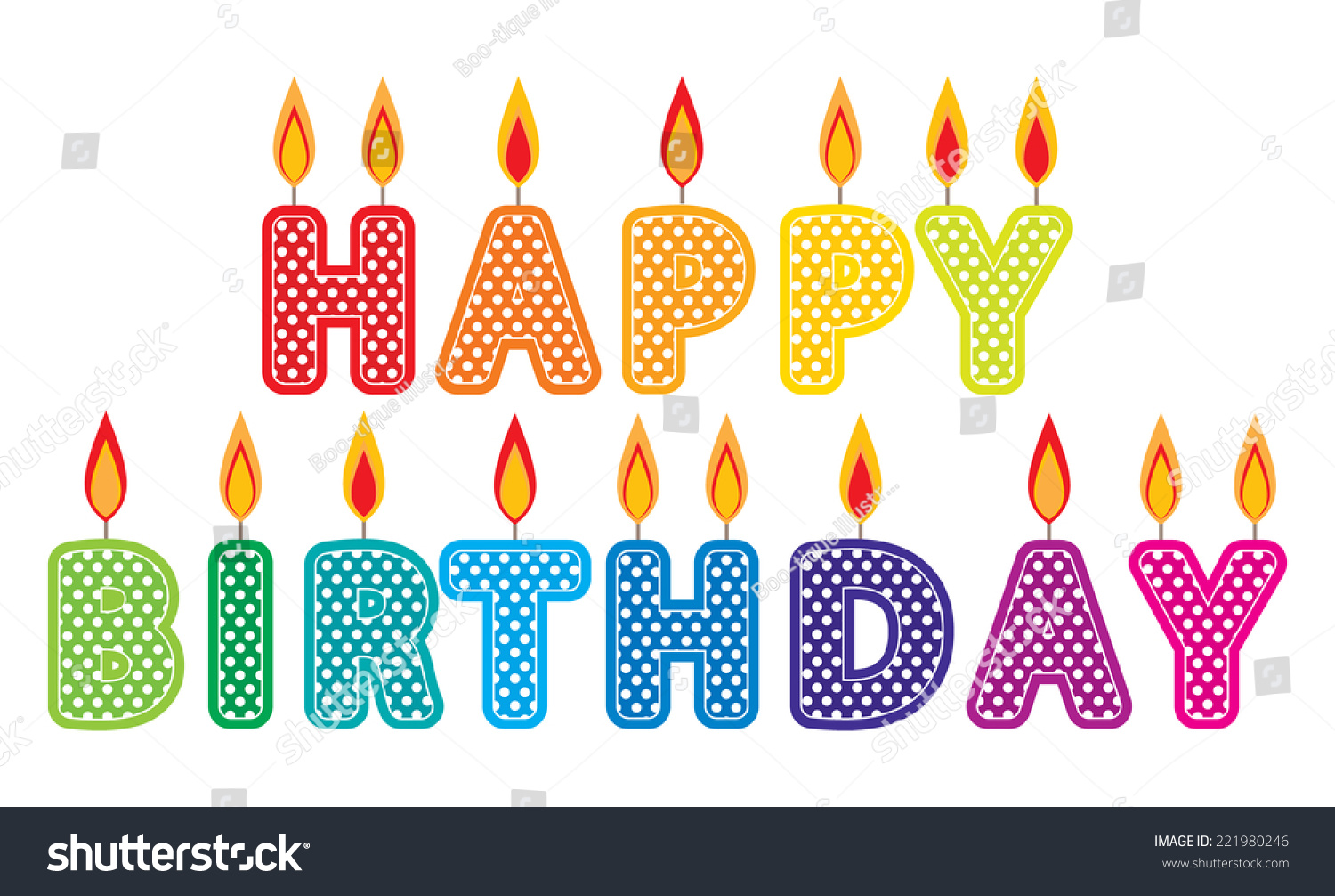 Happy Birthday Candles Clip Art Set Stock Vector Royalty Free