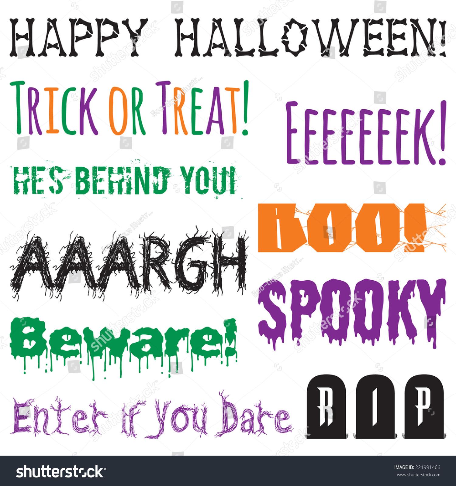 halloween phrases clip art set halloween words graphics created using vector software