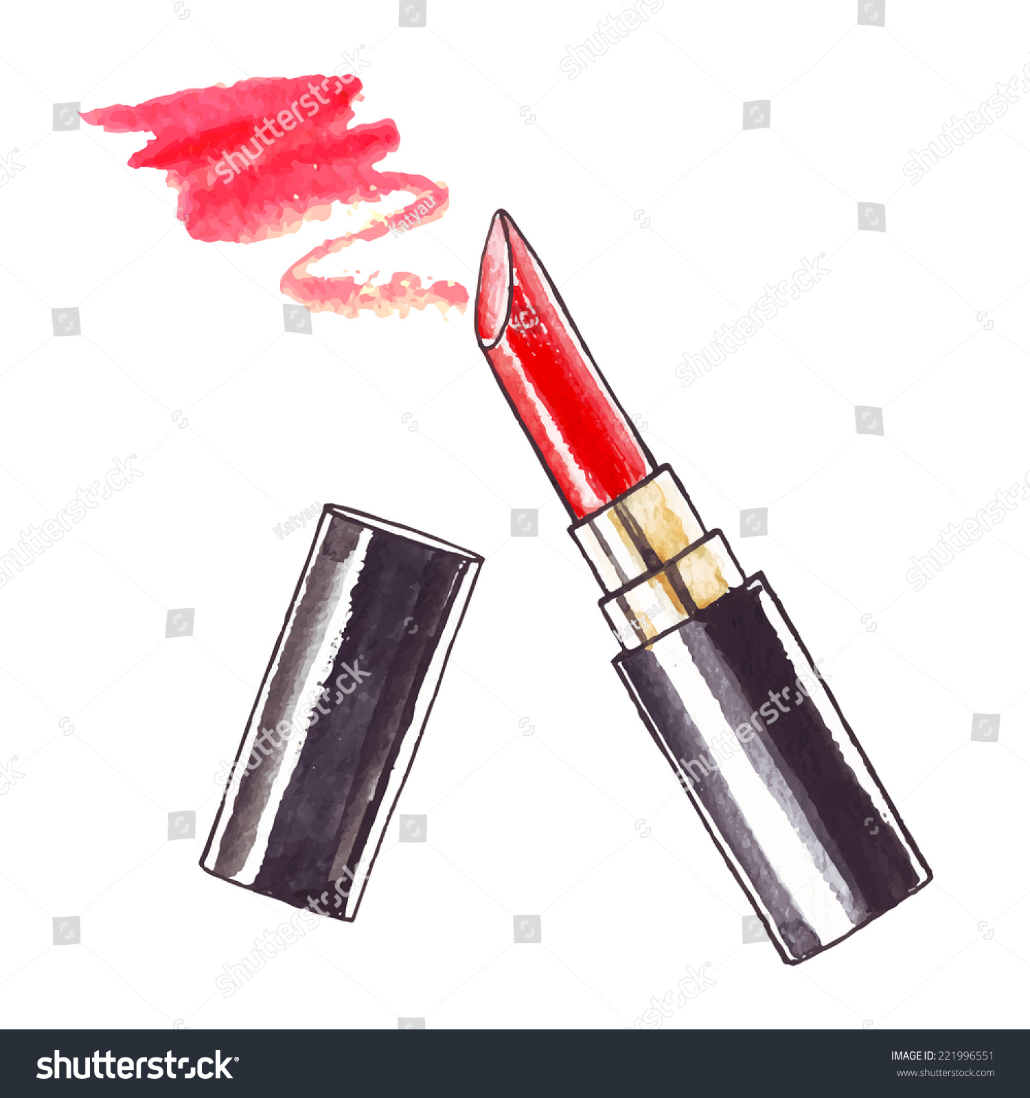 lipstick watercolor beauty illustration 221996551