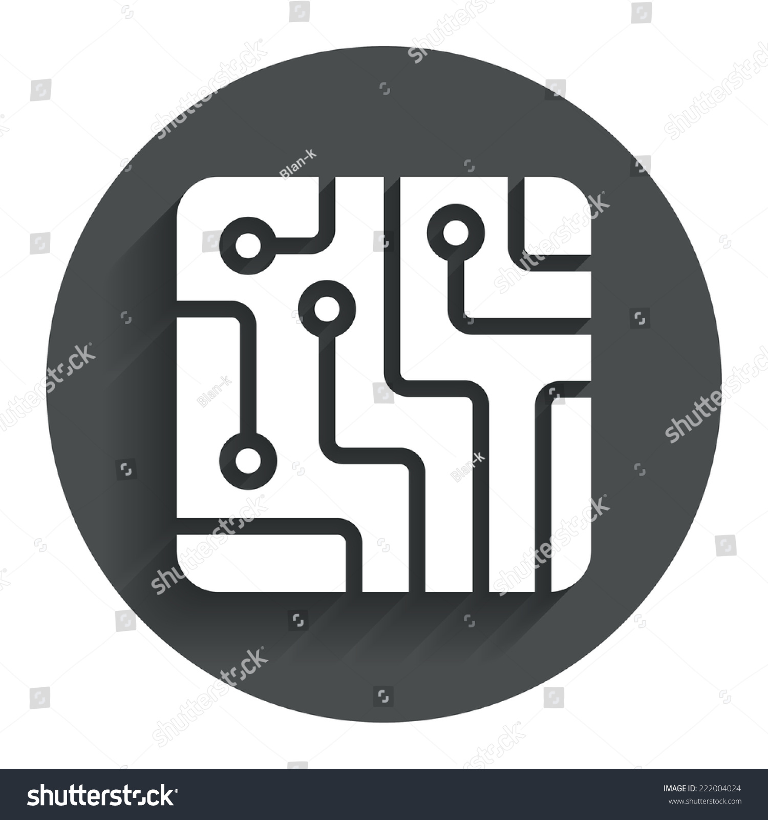 Circuit Board Sign Icon Technology Scheme Stock Vector Royalty Free Boards With Clock Hands Image Square Symbol Circle Flat Button Shadow