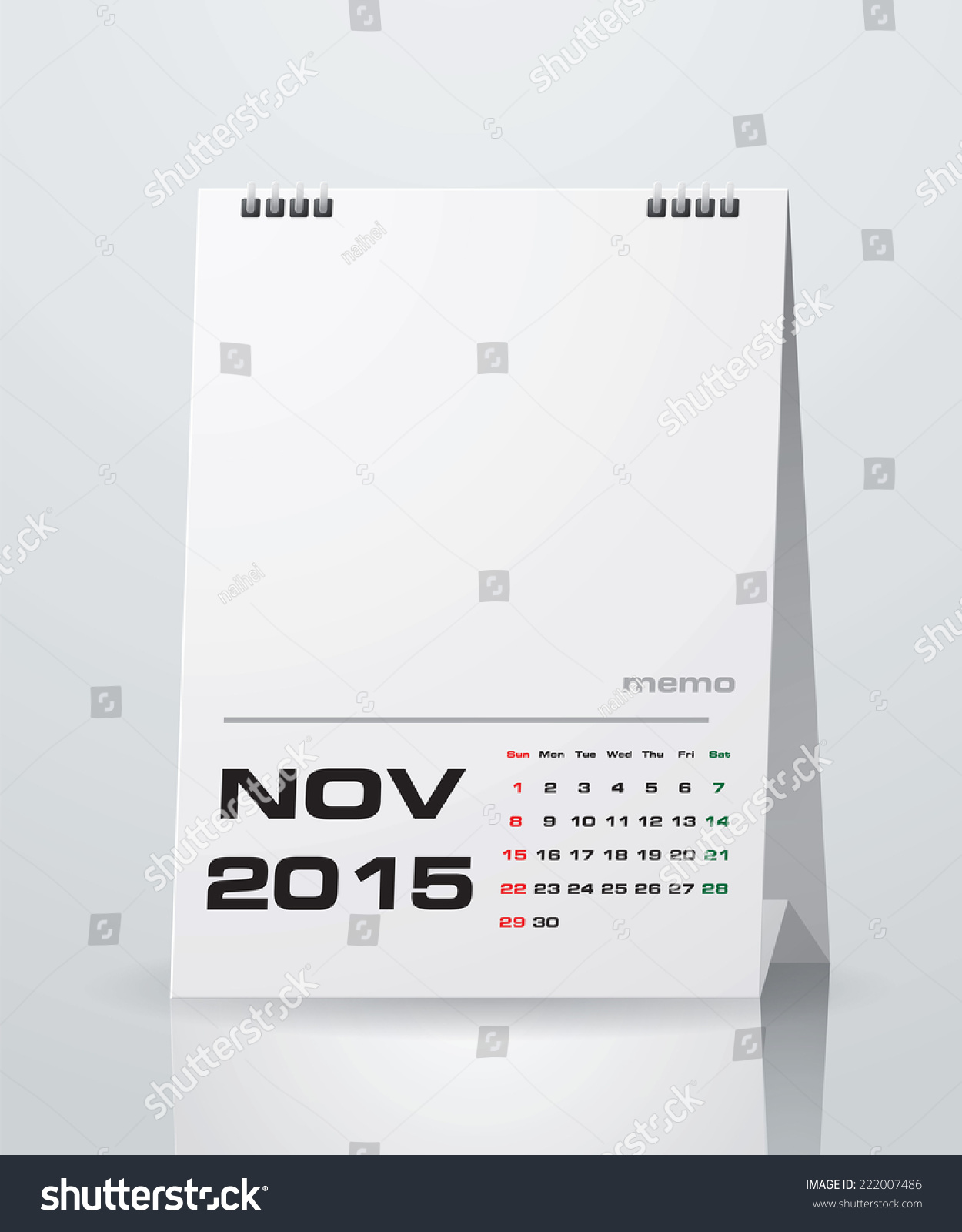 Simple 2015 Year Vector Calendar With Free Space For Your Sample Text :  November 2015