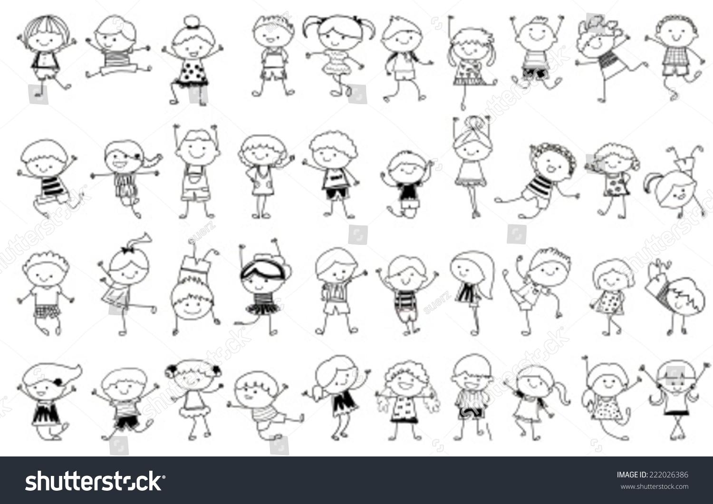 group of kidsdrawing sketch 222026386 - Drawing Sketch For Kids