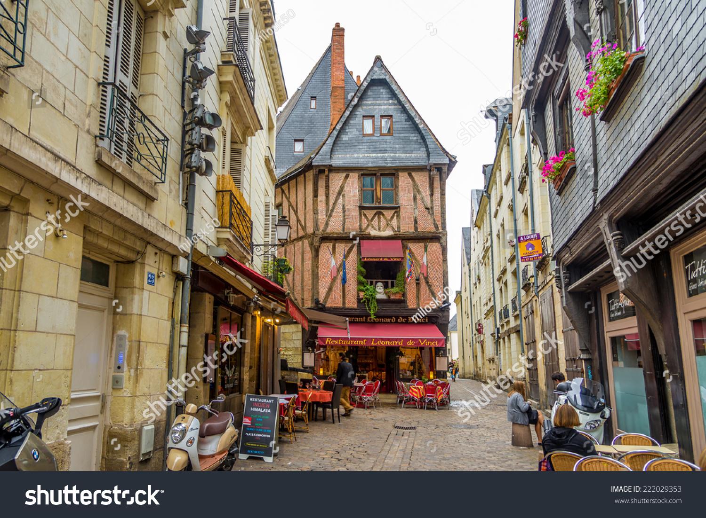 Tours France August Place Plumereau Stock Photo - Tours france