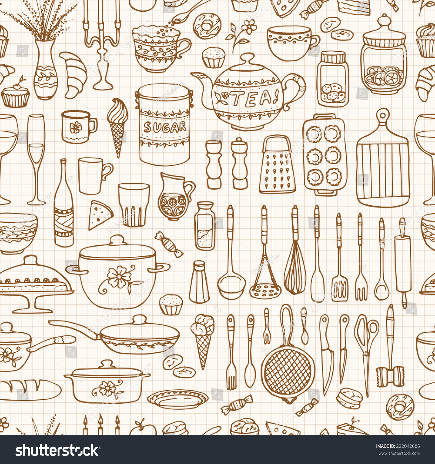 Wallpaper In Kitchen Seamless Pattern Hand Drawn Cookware On Stock Vector 222042685