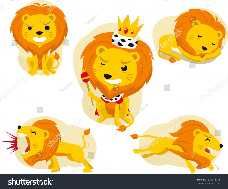 cartoon lion action set king jungle stock vector 222048085