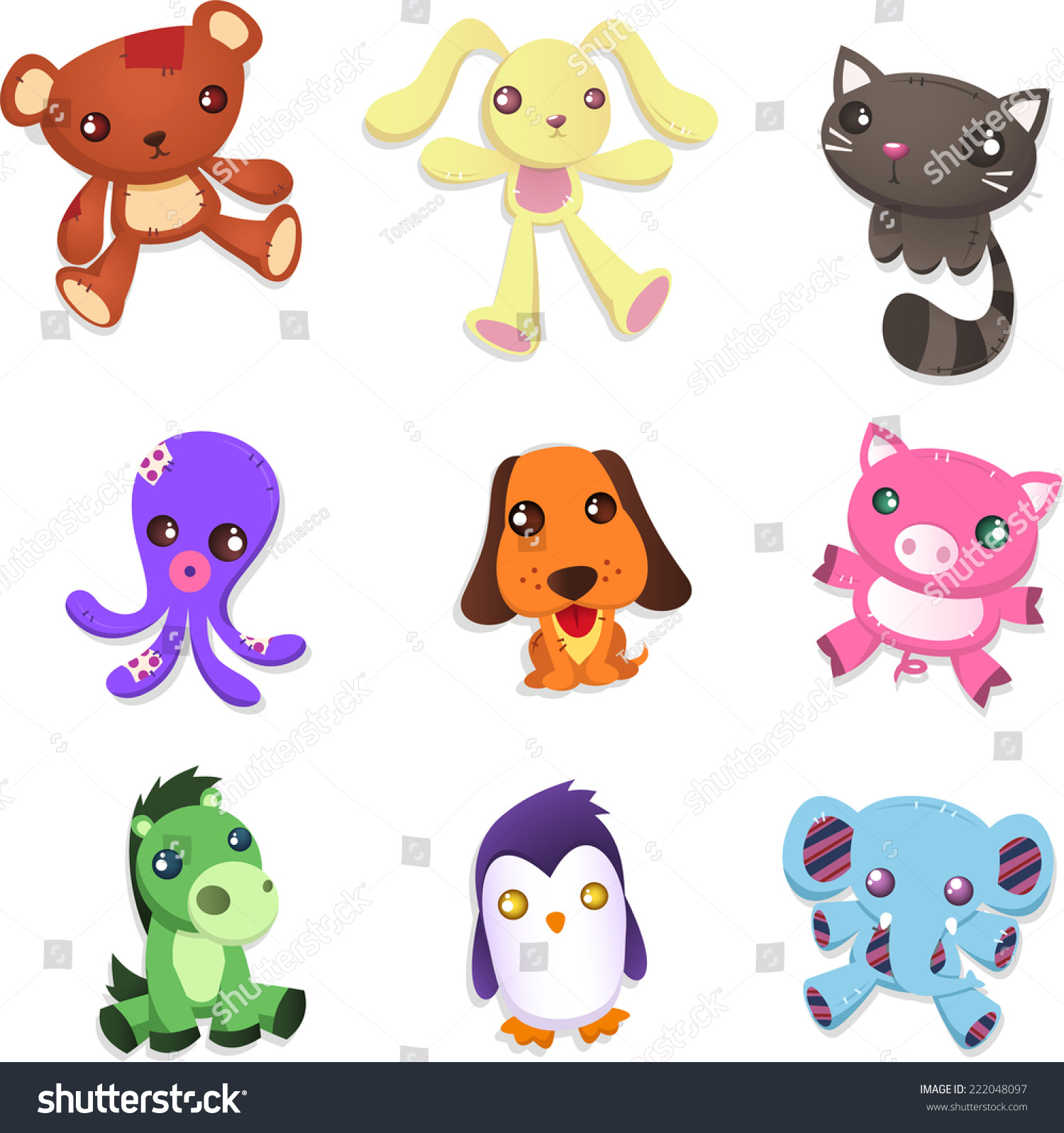 Animals Toys Color : Stuffed animal toy collection includes teddy stock vector